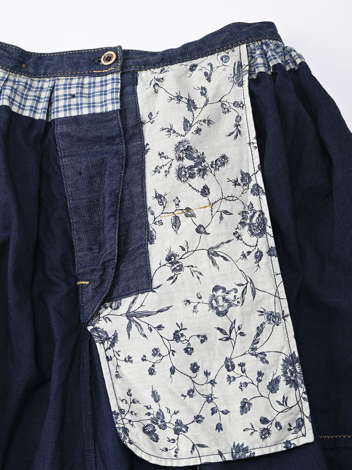 Indigo Tappet Patchwork Skirt-11