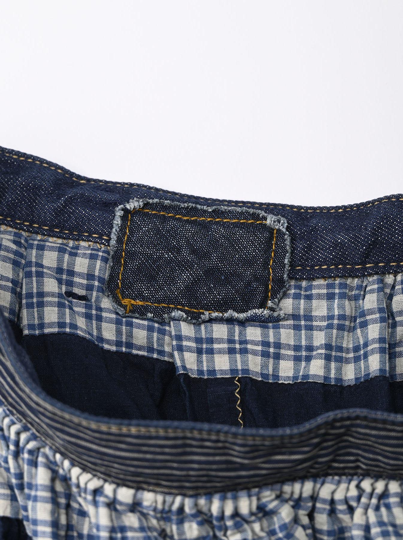 Indigo Tappet Patchwork Skirt-8