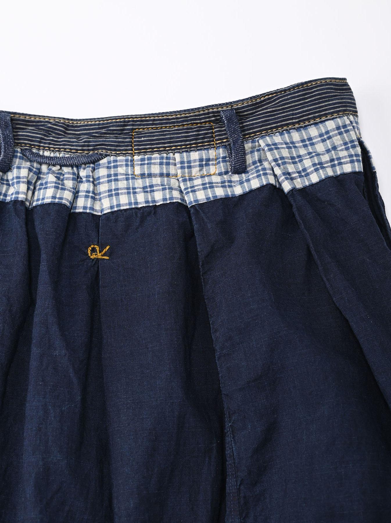 Indigo Tappet Patchwork Skirt-12