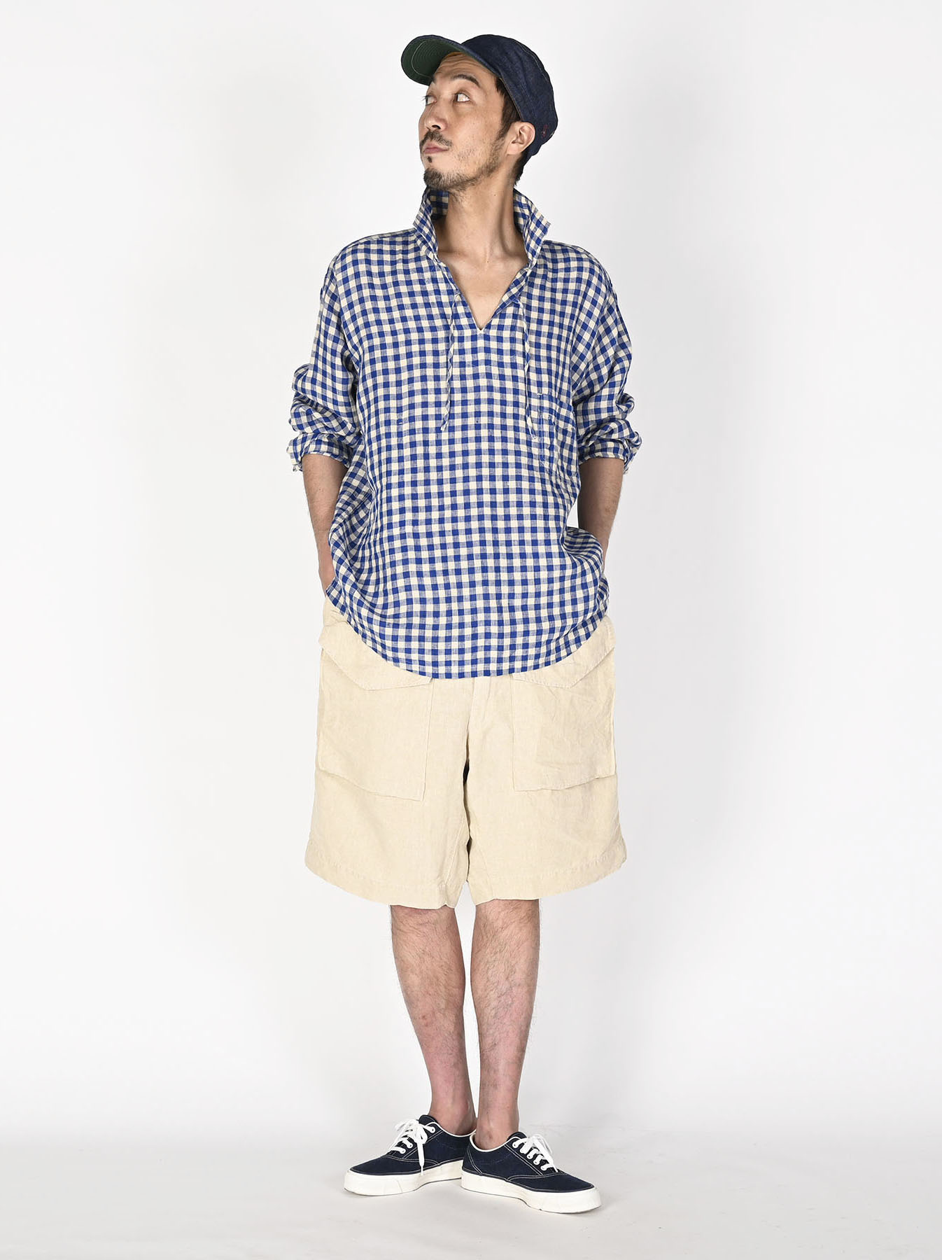 Indian Gauze Linen Capri Shirt-5