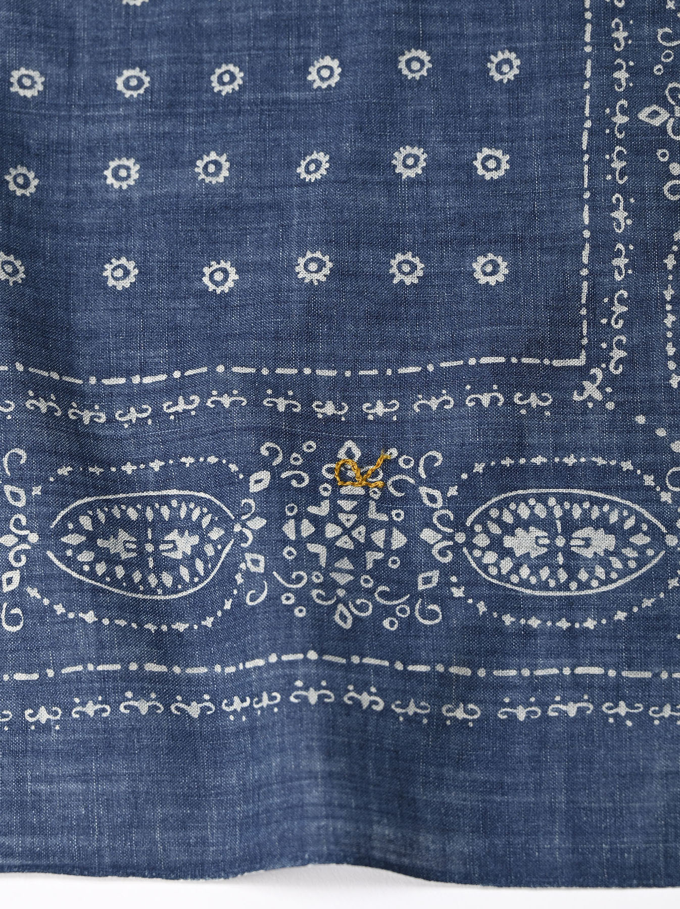Indigo Selvage Amish Beads Bandana-4