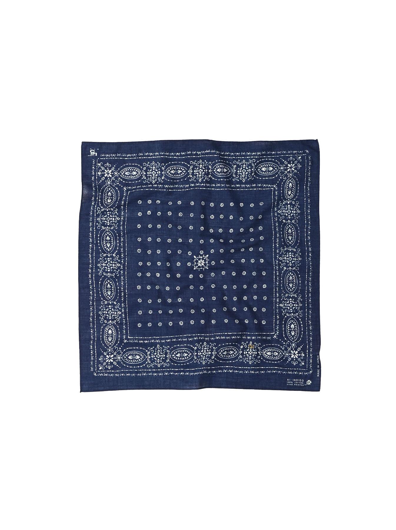 Indigo Selvage Amish Beads Bandana-8