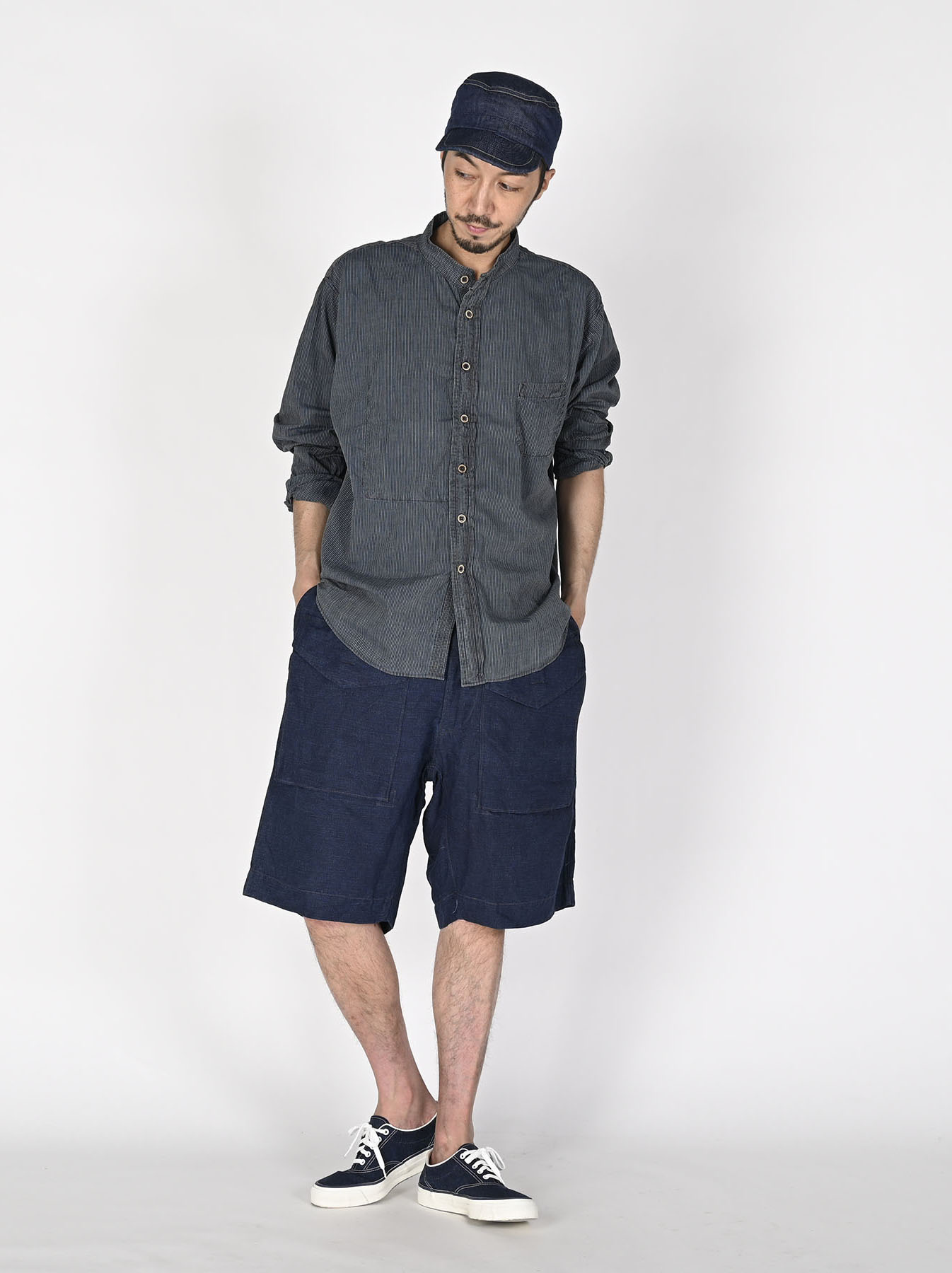 Indigo Hickory Tappet Ocean Stand Shirt-5
