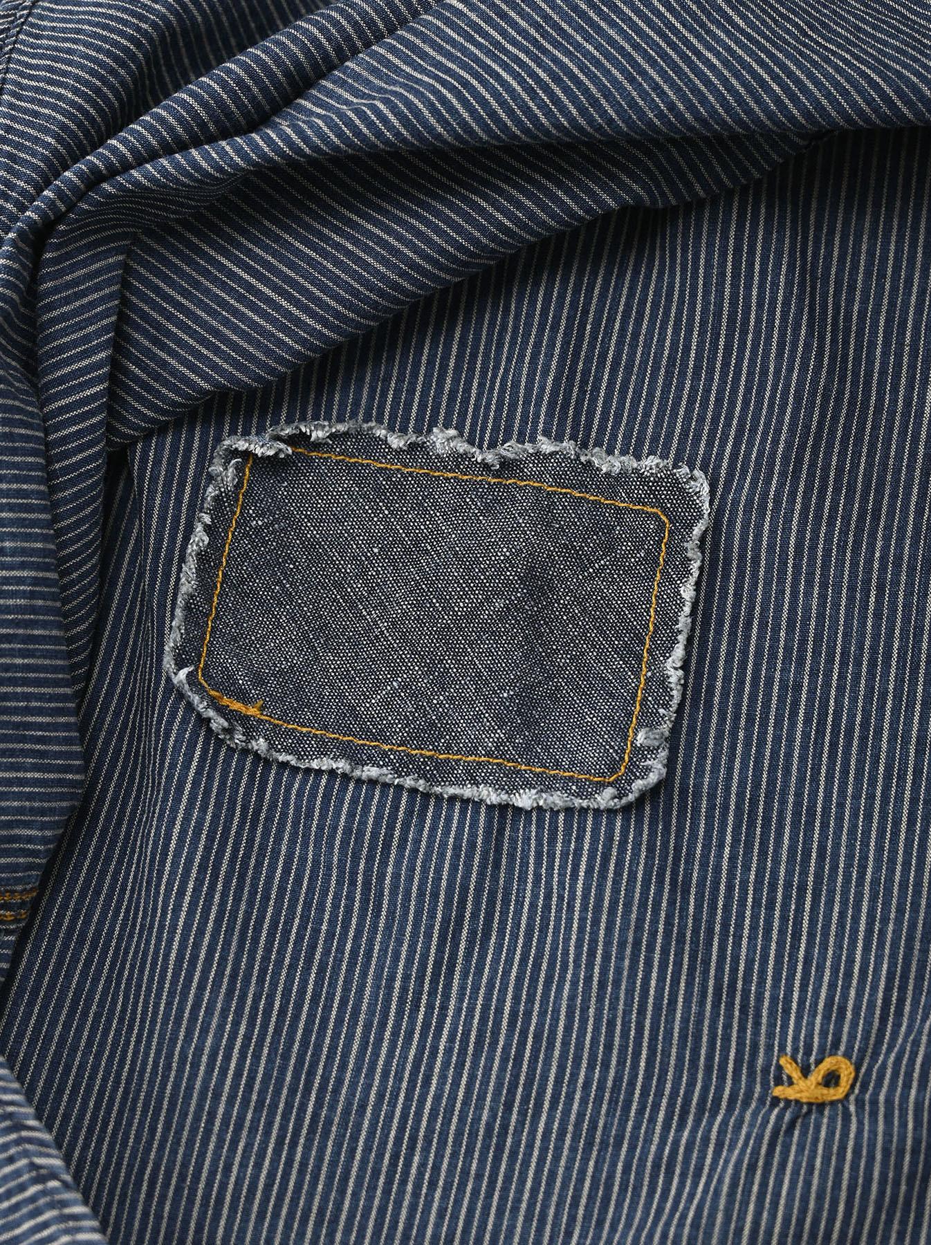 Indigo Hickory Tappet Ocean Stand Shirt-12