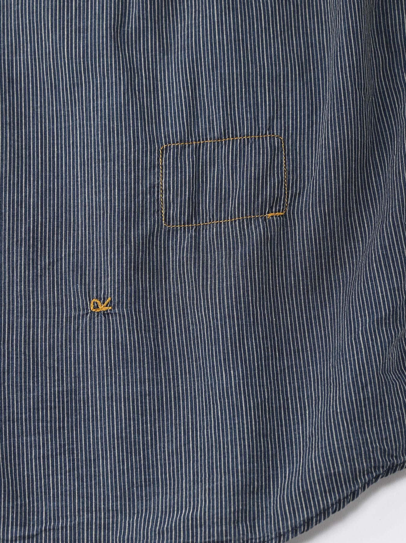 Indigo Hickory Tappet Ocean Stand Shirt-11