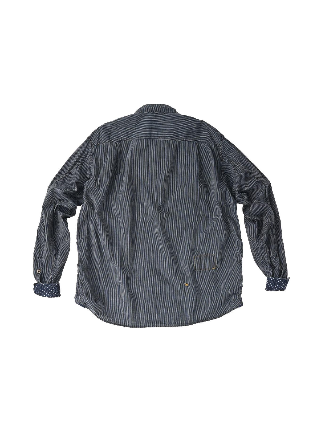 Indigo Hickory Tappet Ocean Stand Shirt-10