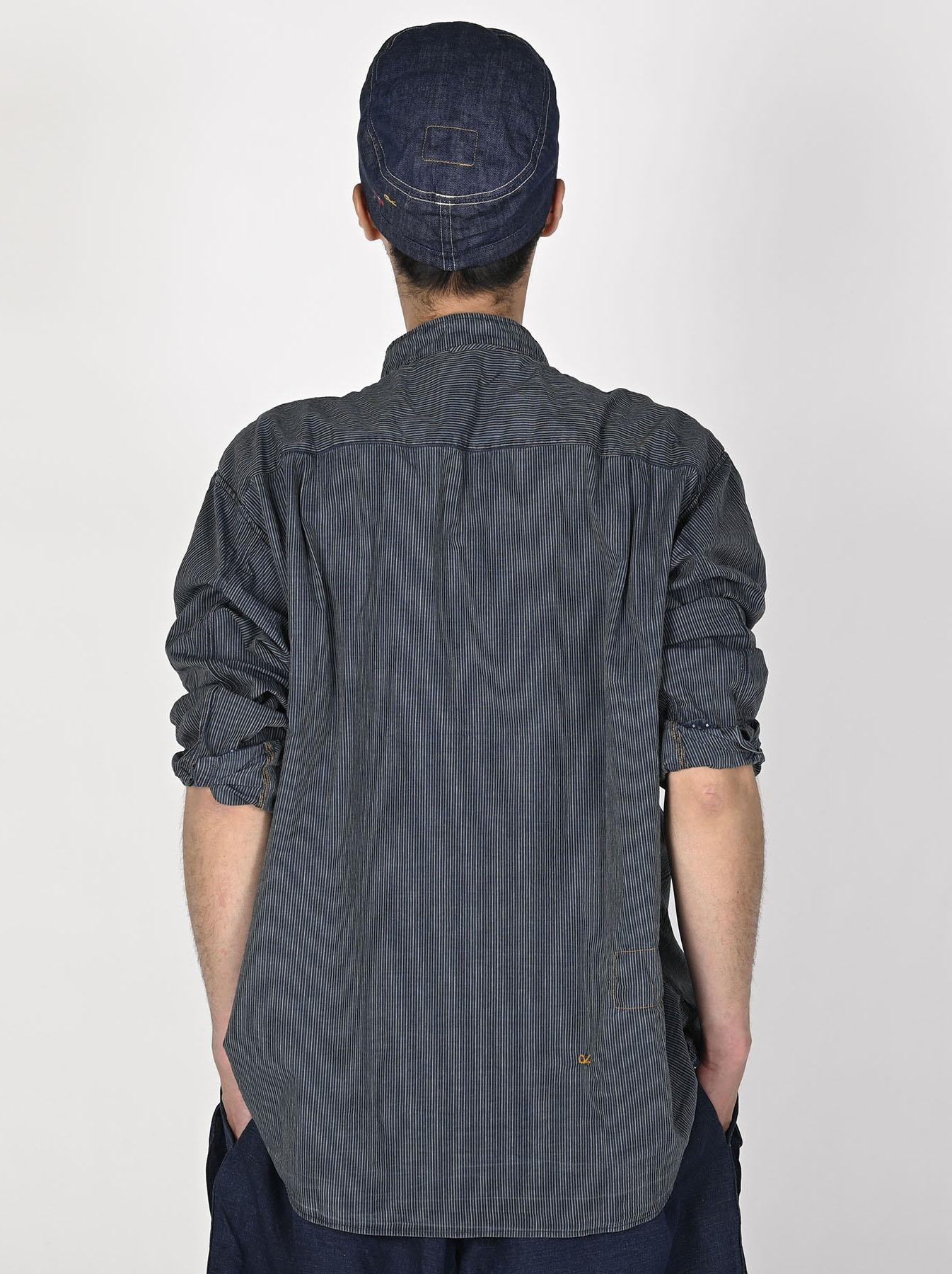 Indigo Hickory Tappet Ocean Stand Shirt-4
