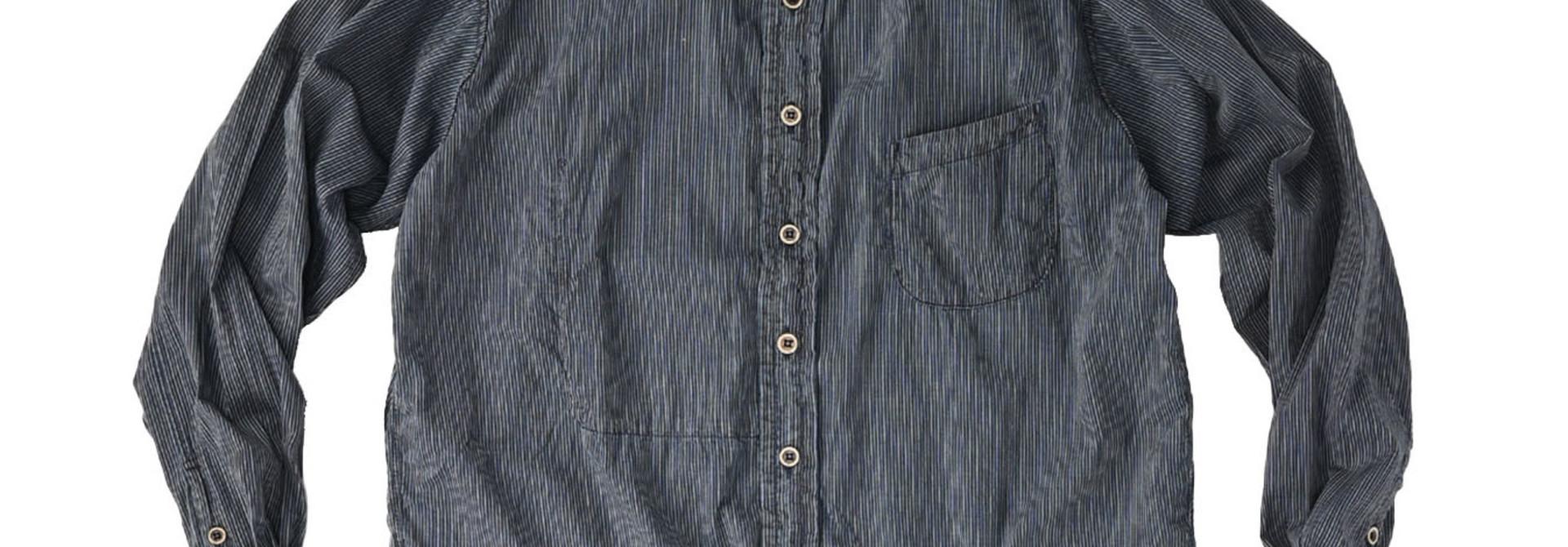 Indigo Hickory Tappet Ocean Stand Shirt