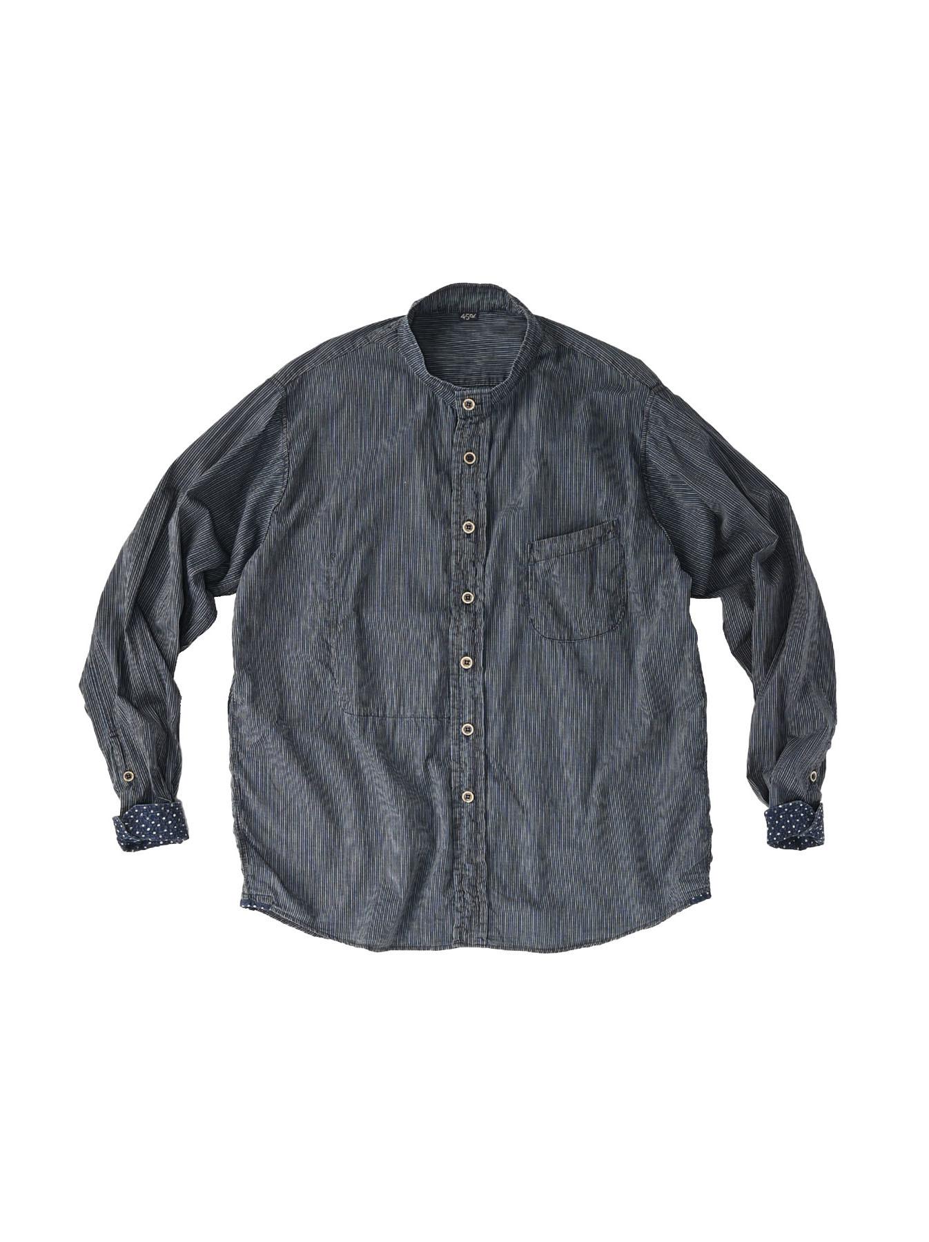 Indigo Hickory Tappet Ocean Stand Shirt-1