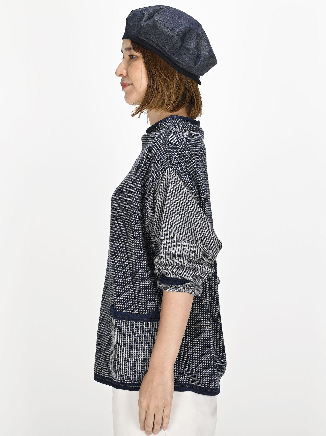 Indigo Tappet Kanoko Umahiko Sweater-3