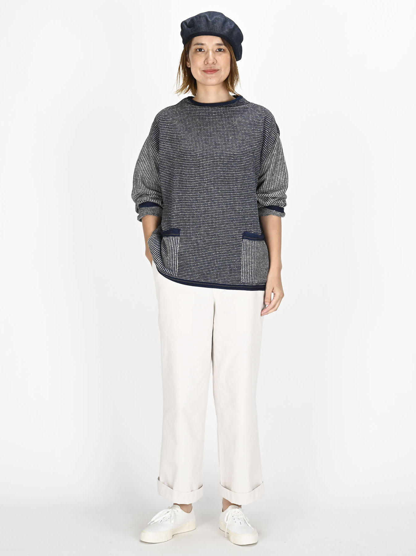 Indigo Tappet Kanoko Umahiko Sweater-5