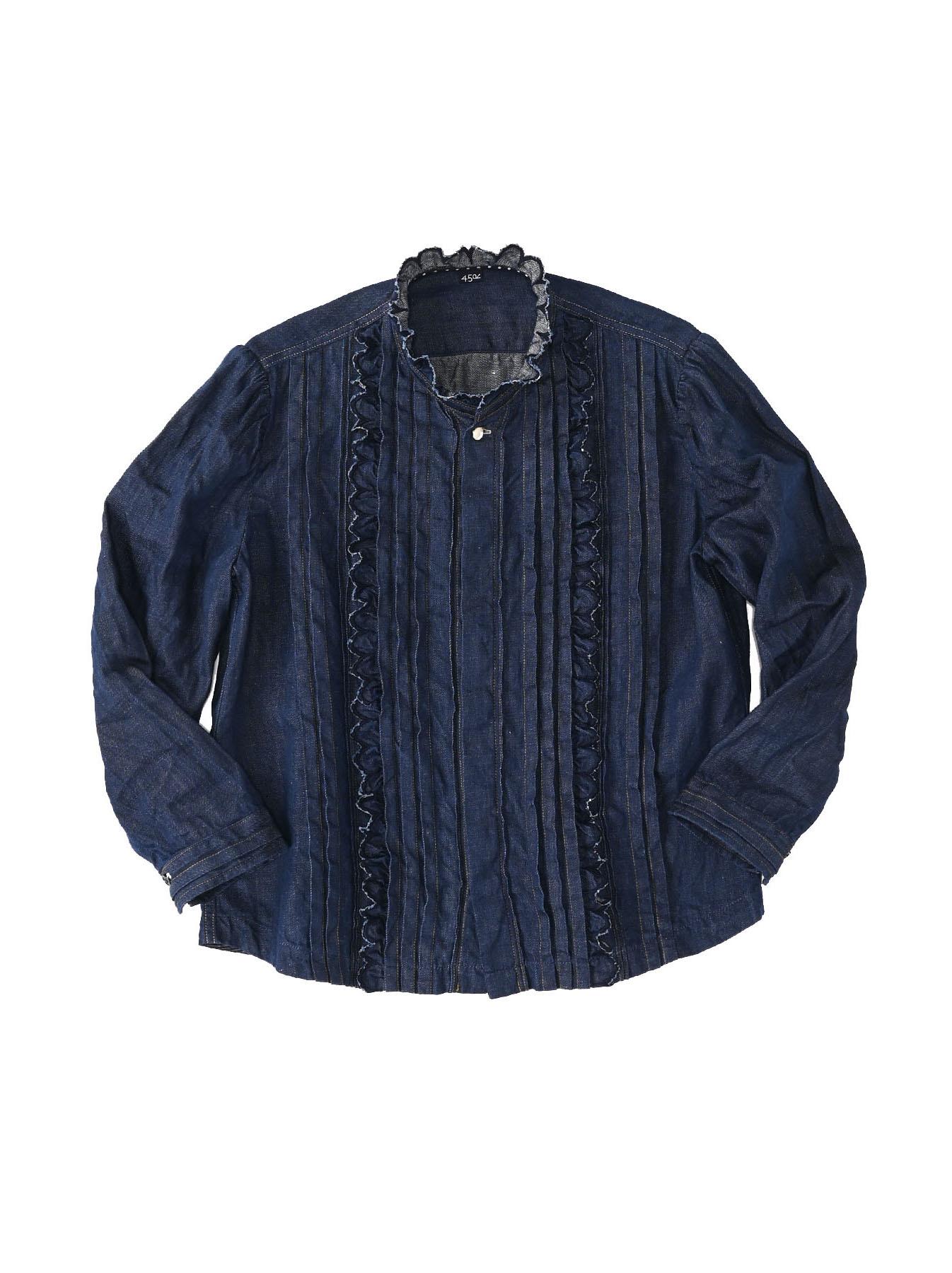 Komugi Denim Tuck Lace Blouse-1
