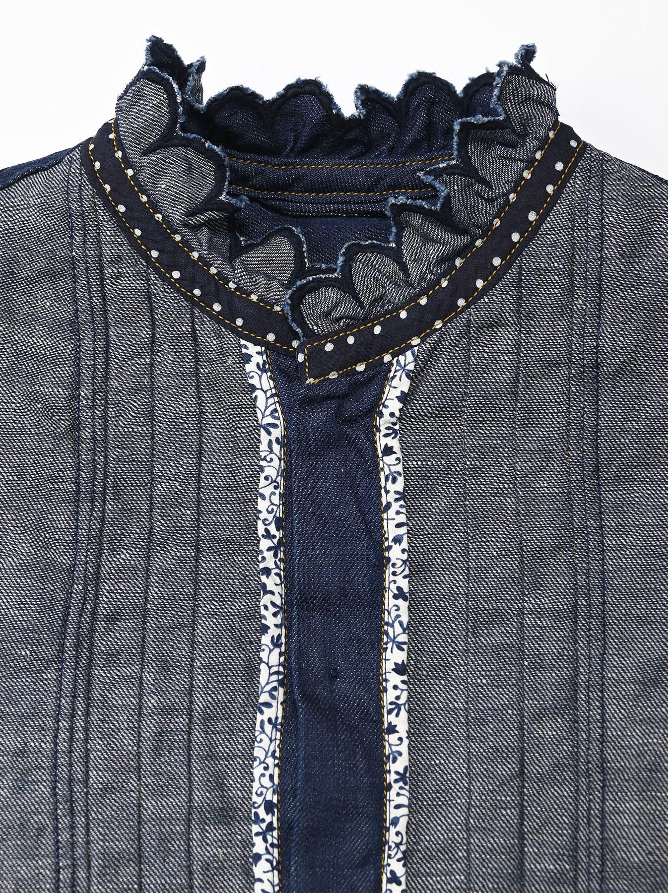 Komugi Denim Tuck Lace Blouse-11