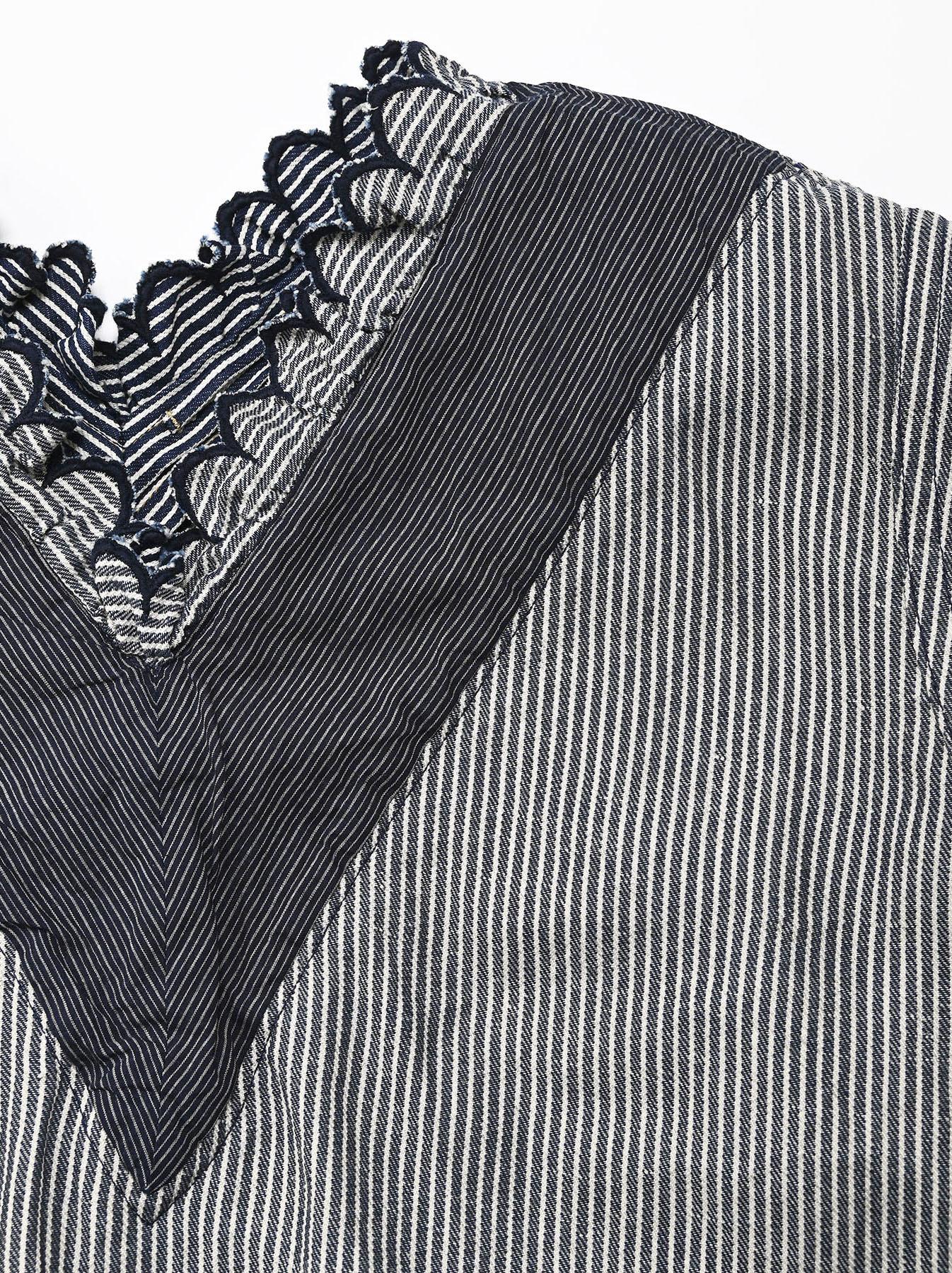Komugi Denim Tuck Lace T-shirt-7