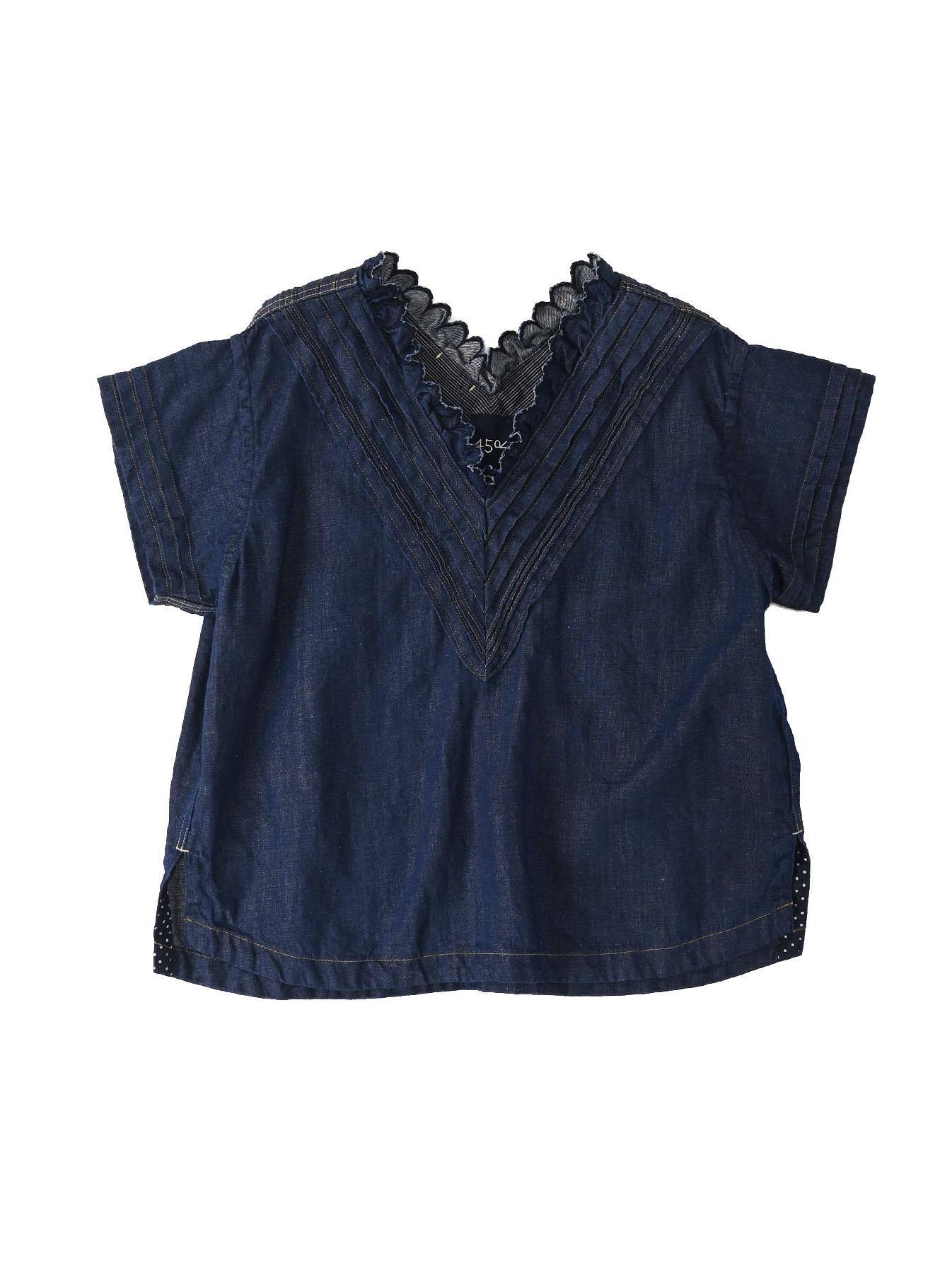 Komugi Denim Tuck Lace T-shirt-1