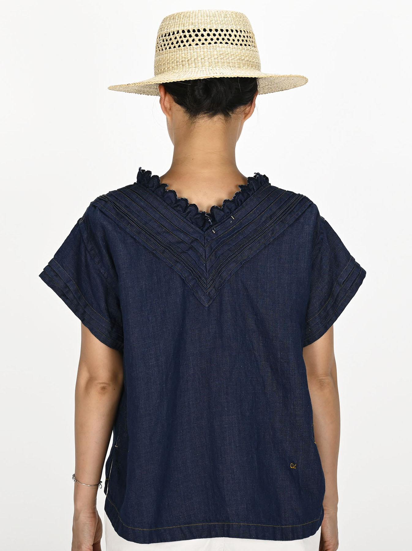 Komugi Denim Tuck Lace T-shirt-4