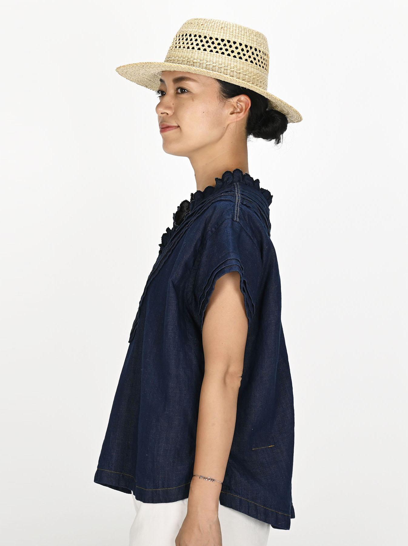 Komugi Denim Tuck Lace T-shirt-3