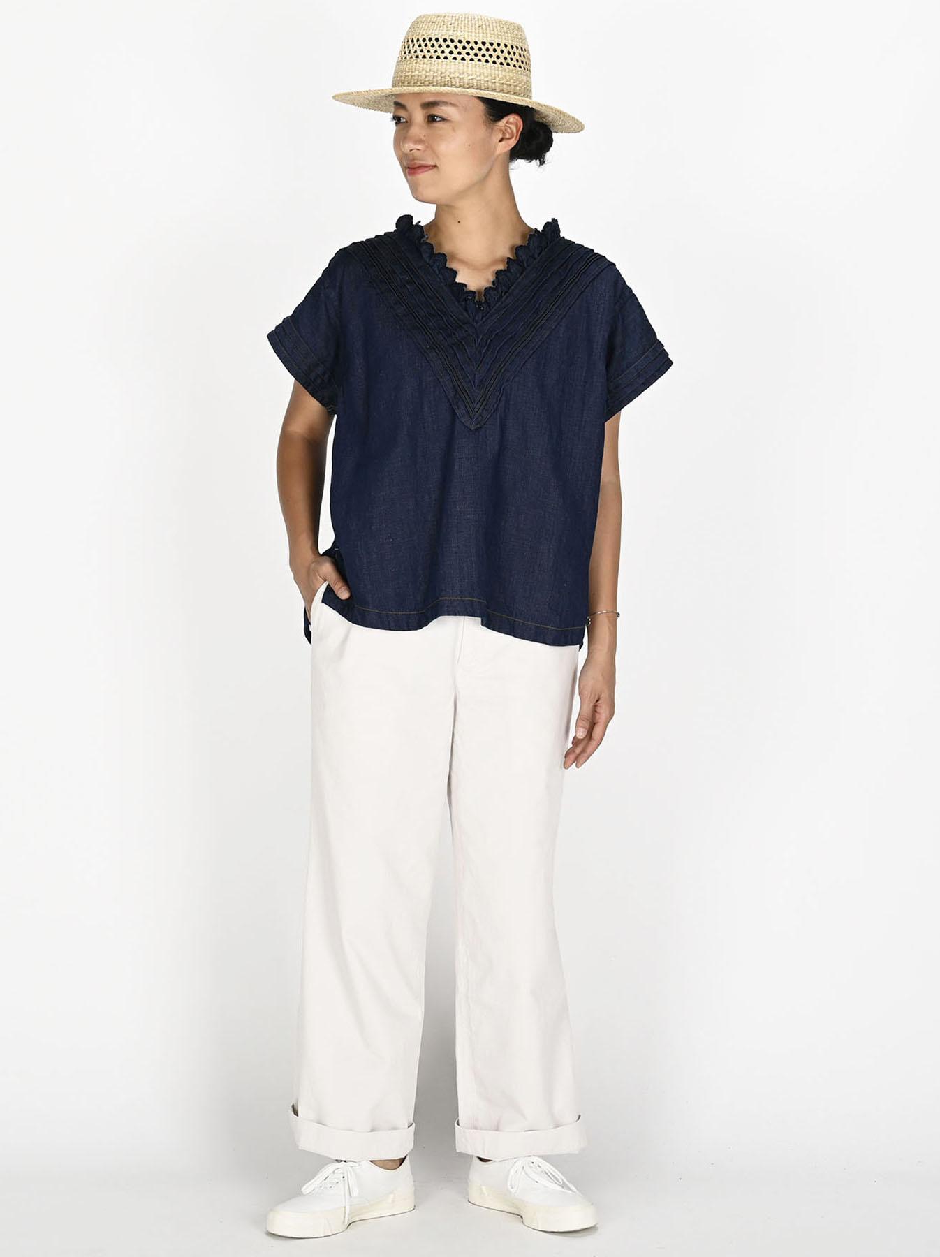 Komugi Denim Tuck Lace T-shirt-5