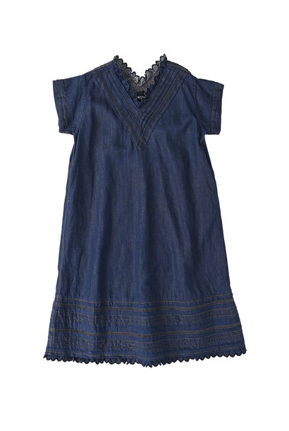 Komugi Denim Tuck Lace Dress