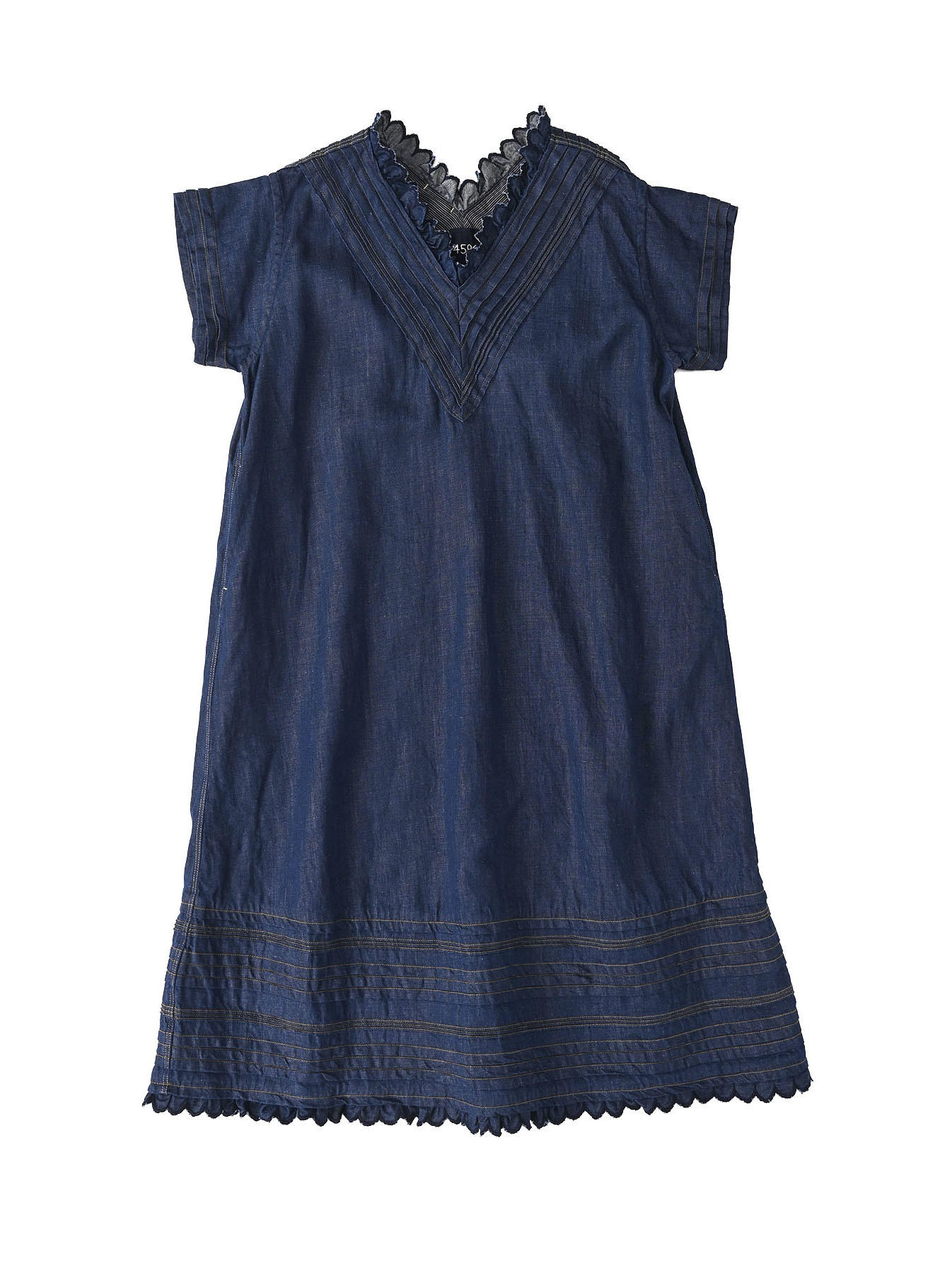 Komugi Denim Tuck Lace Dress-2