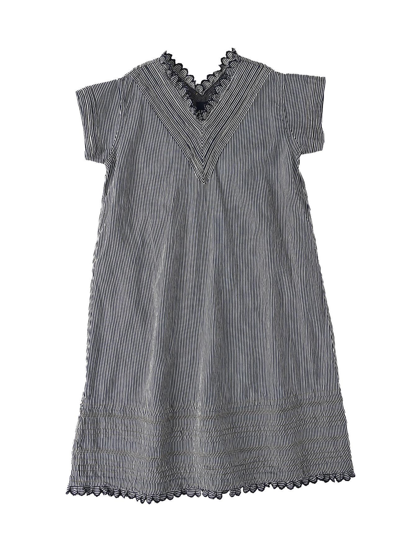 Komugi Denim Tuck Lace Dress-1