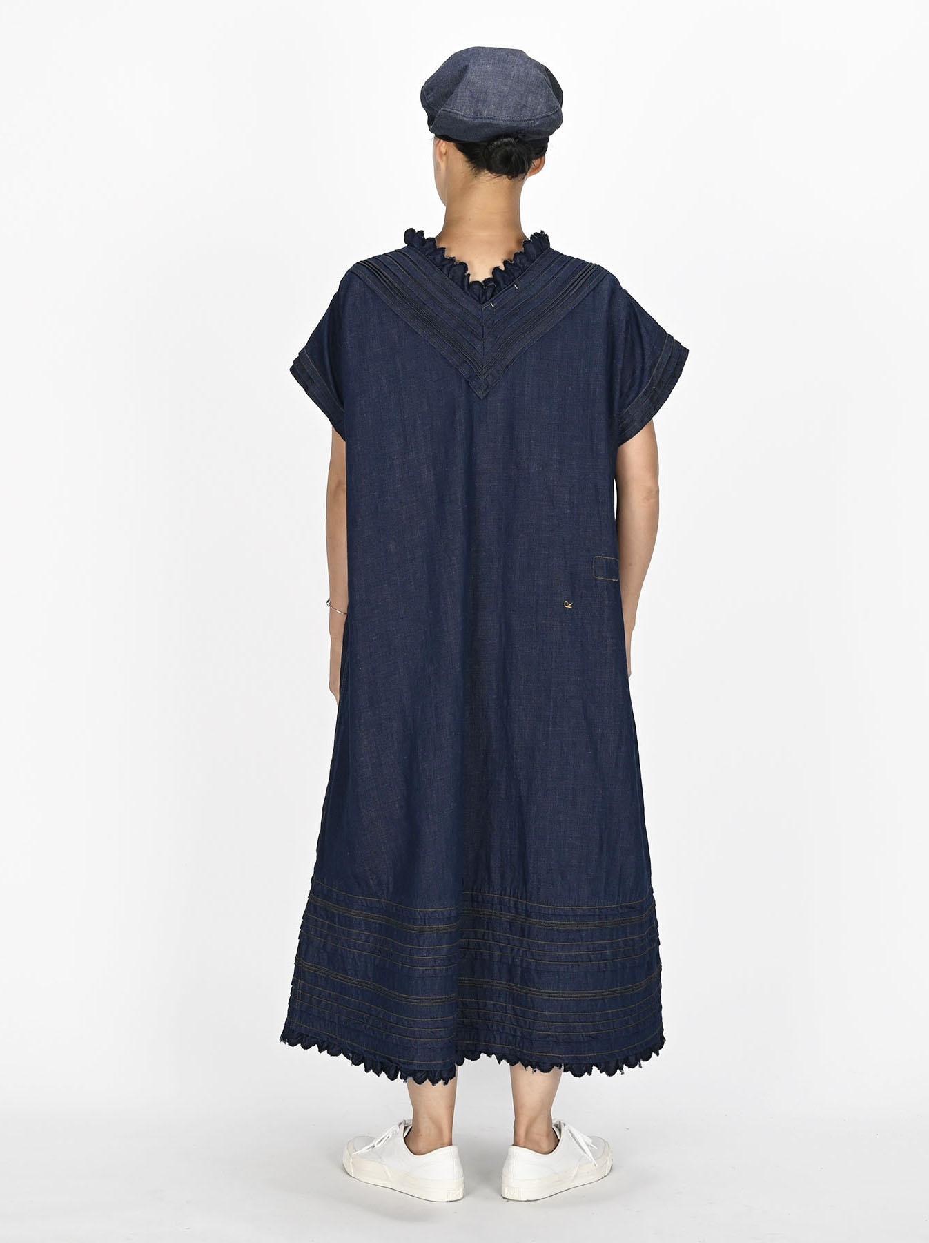 Komugi Denim Tuck Lace Dress-5