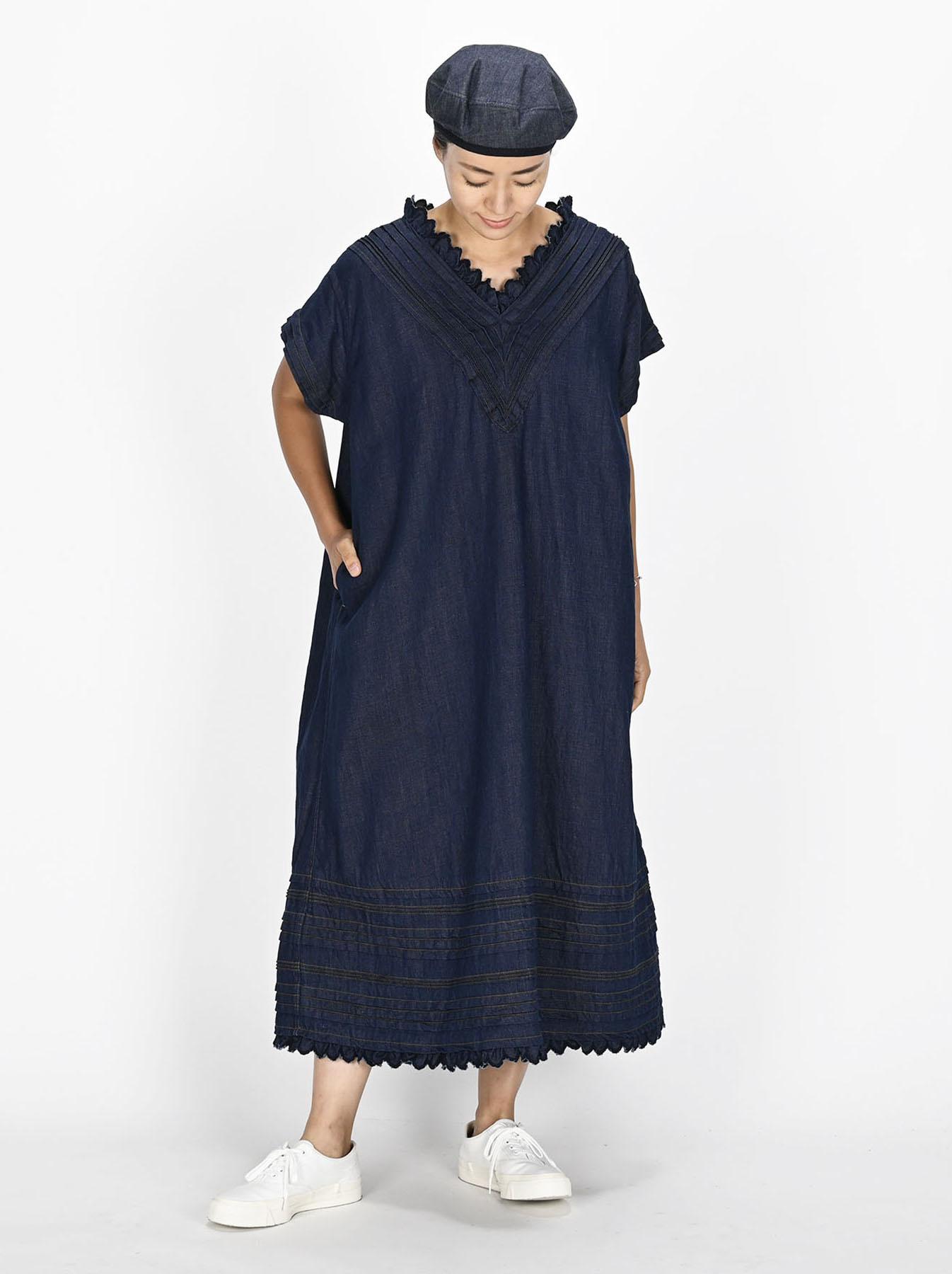 Komugi Denim Tuck Lace Dress-3