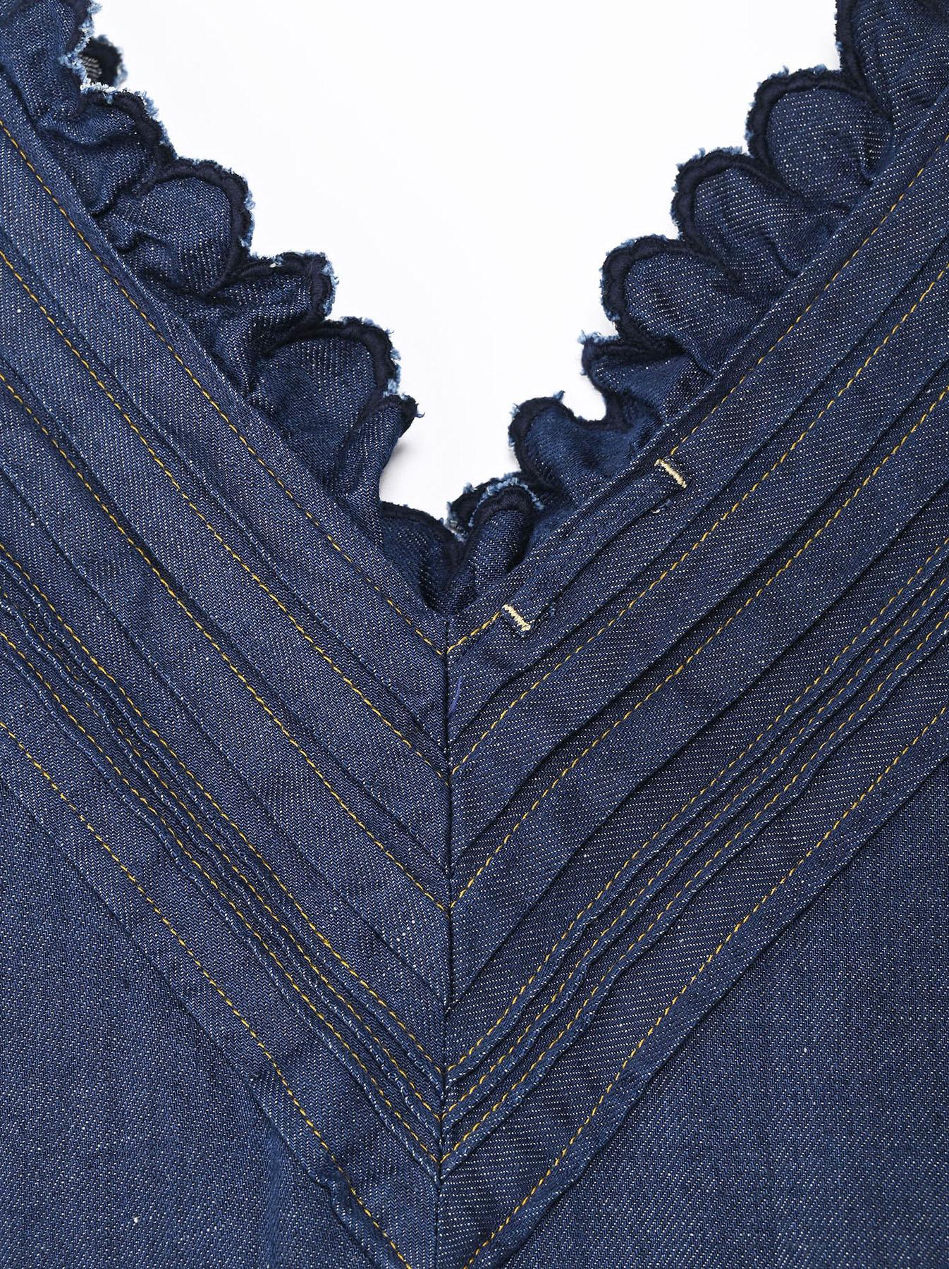 Komugi Denim Tuck Lace Dress-7