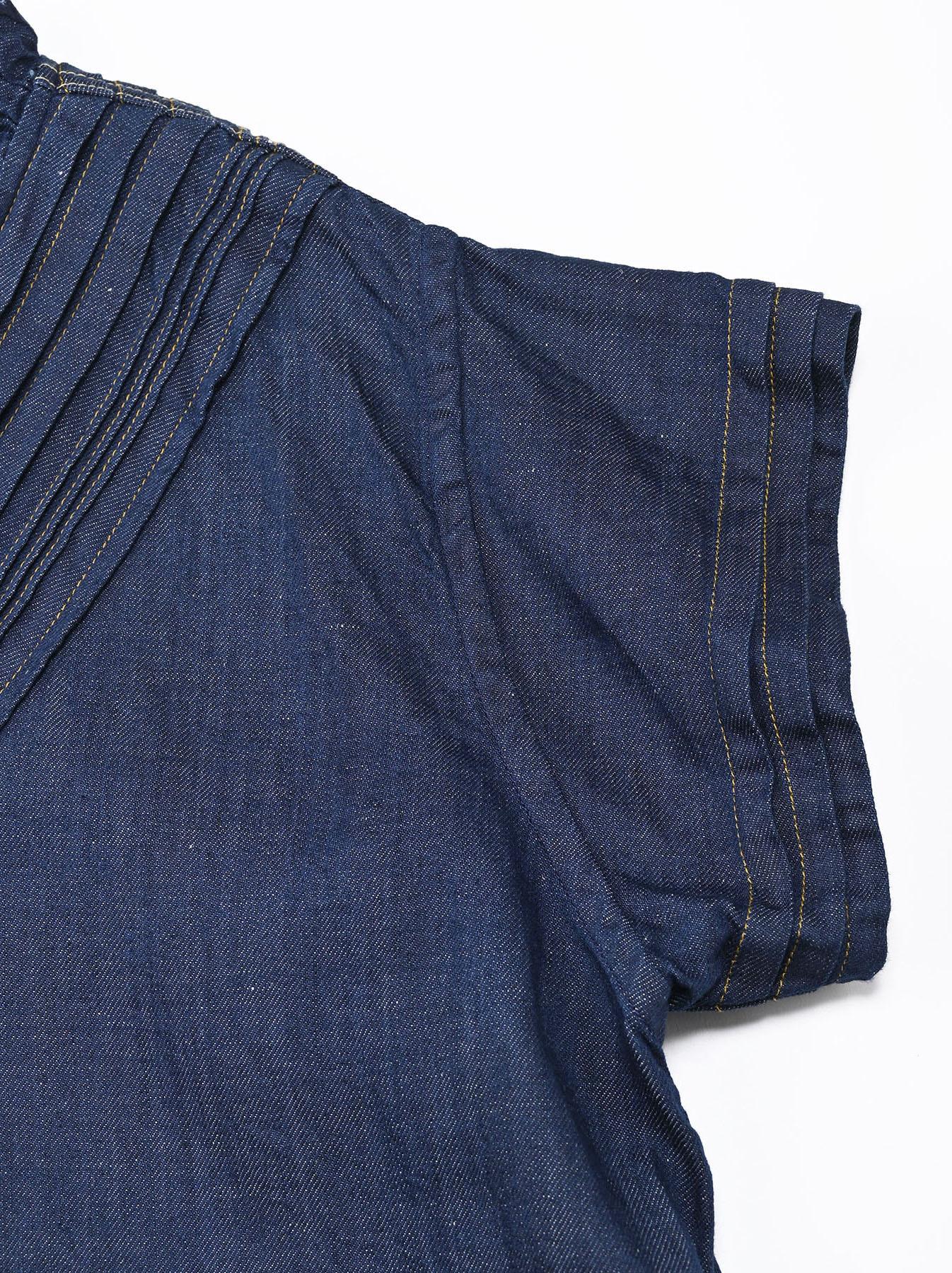 Komugi Denim Tuck Lace Dress-8