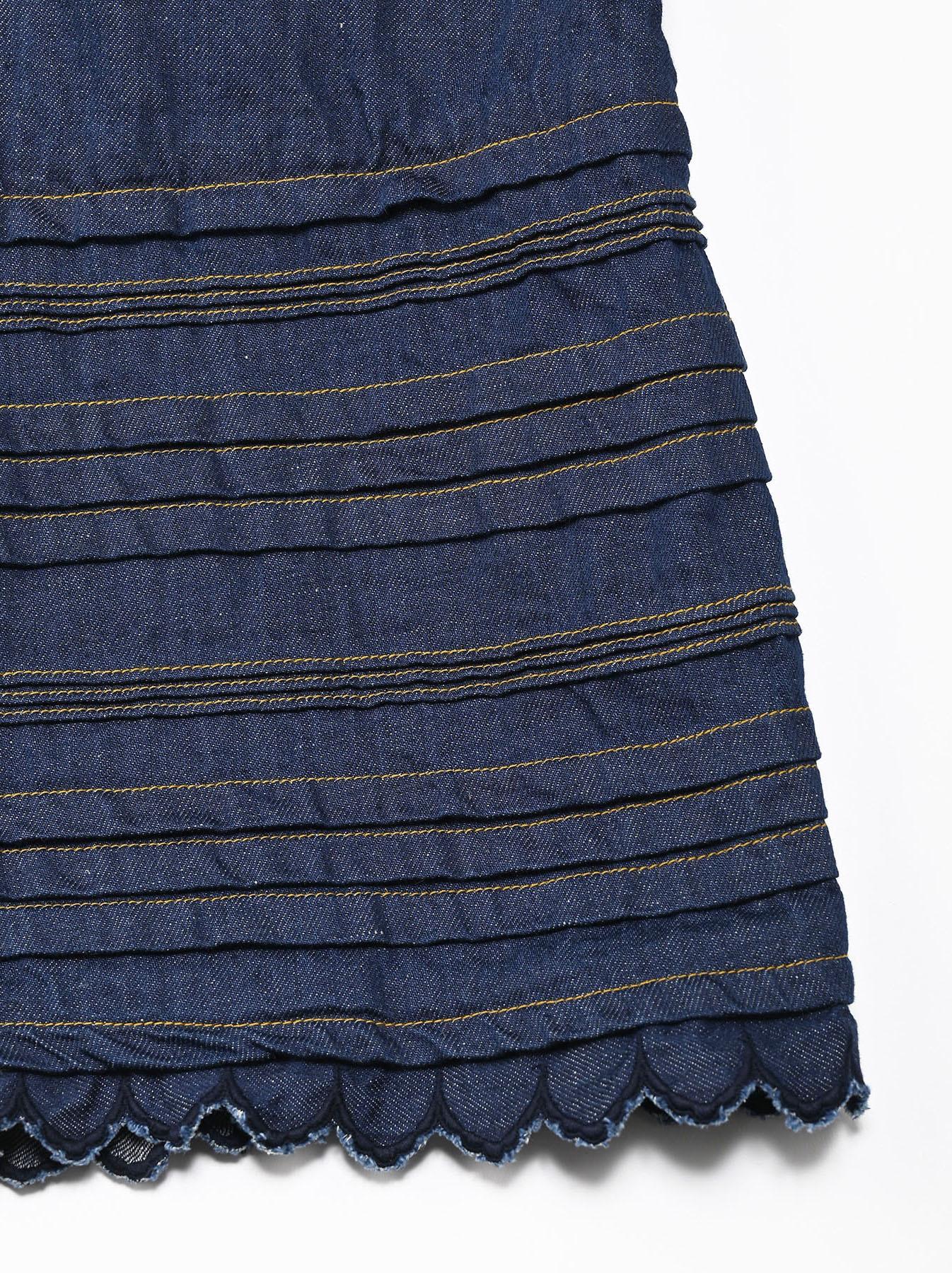 Komugi Denim Tuck Lace Dress-9