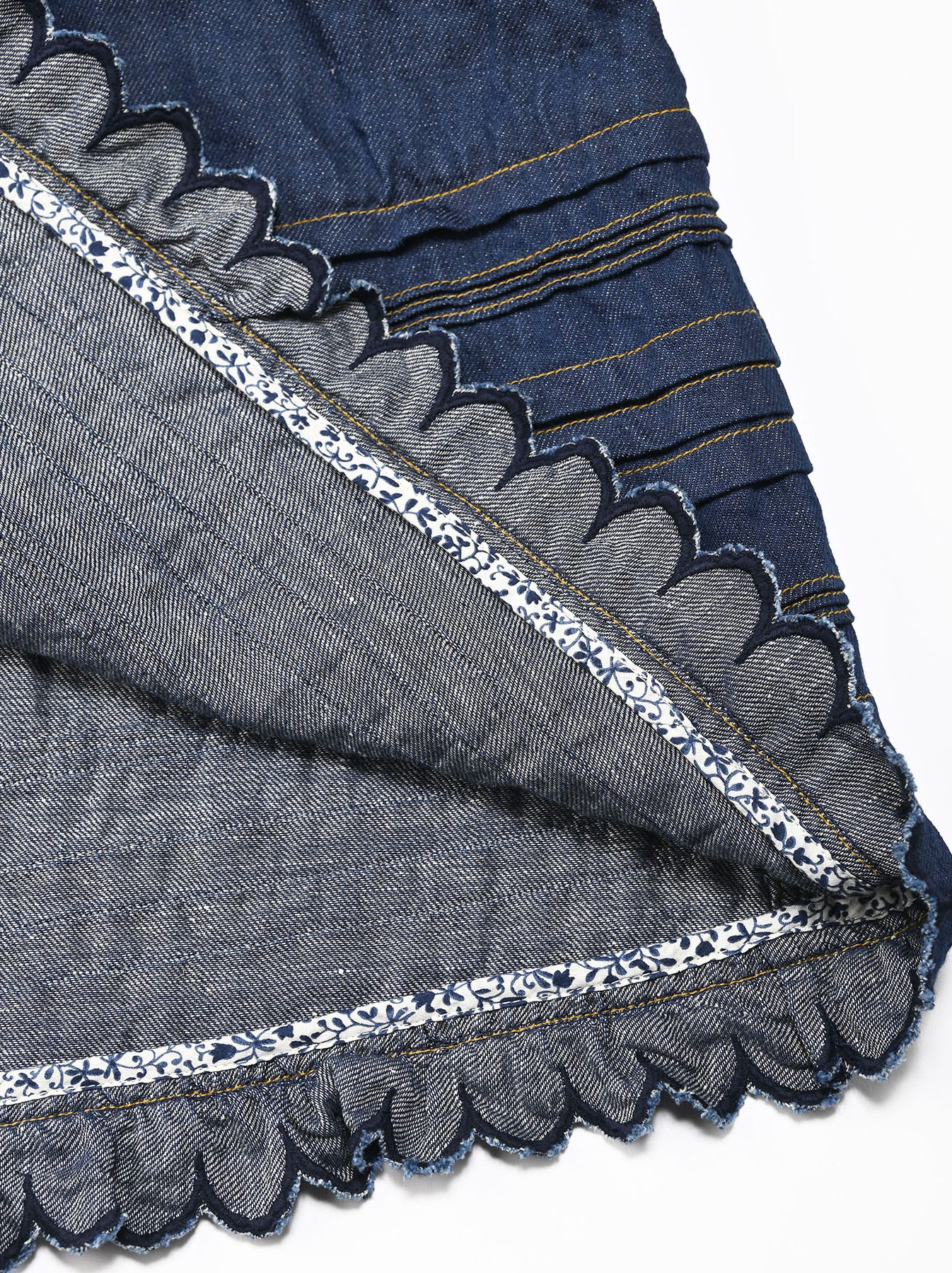 Komugi Denim Tuck Lace Dress-11
