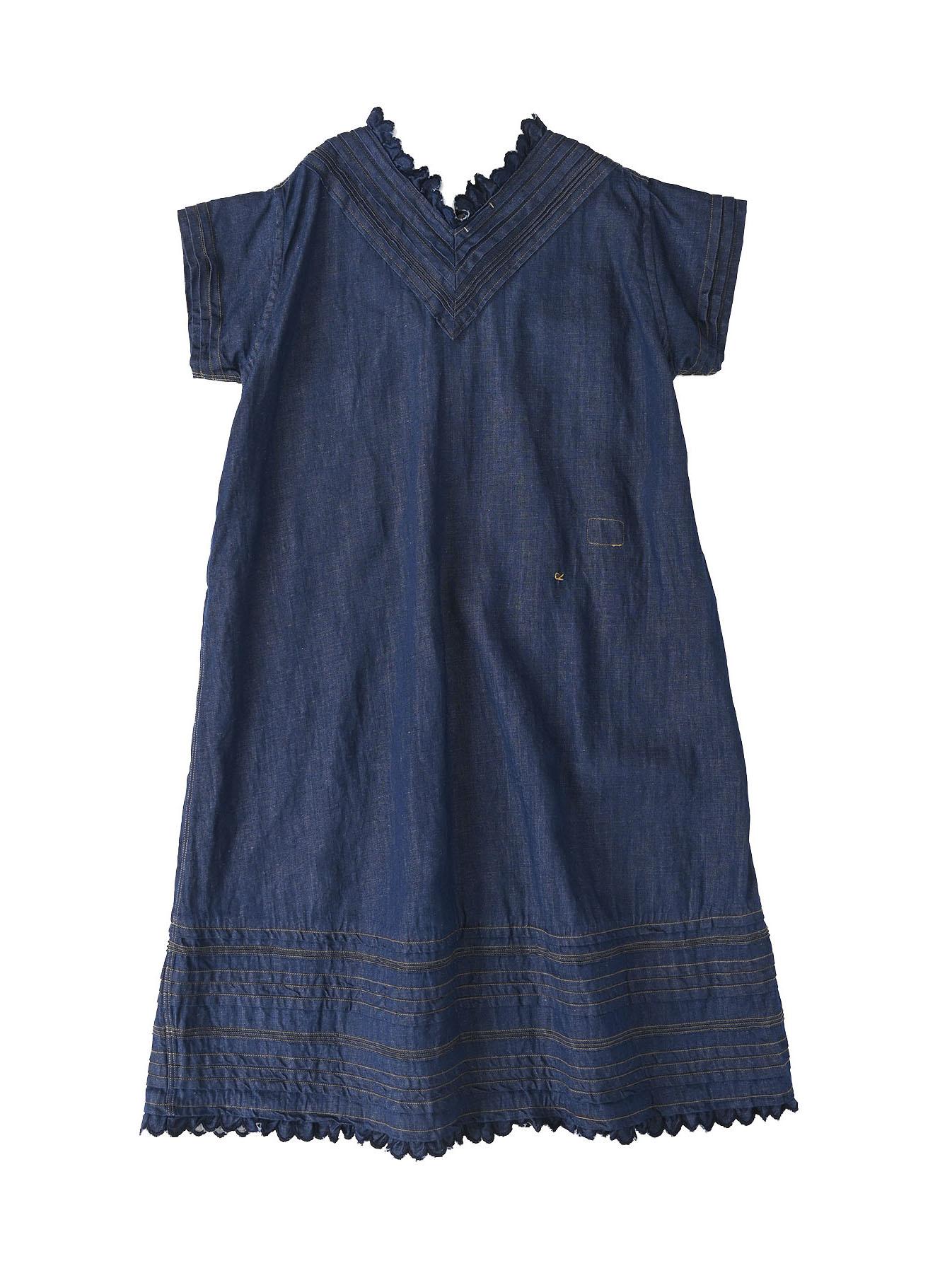 Komugi Denim Tuck Lace Dress-6