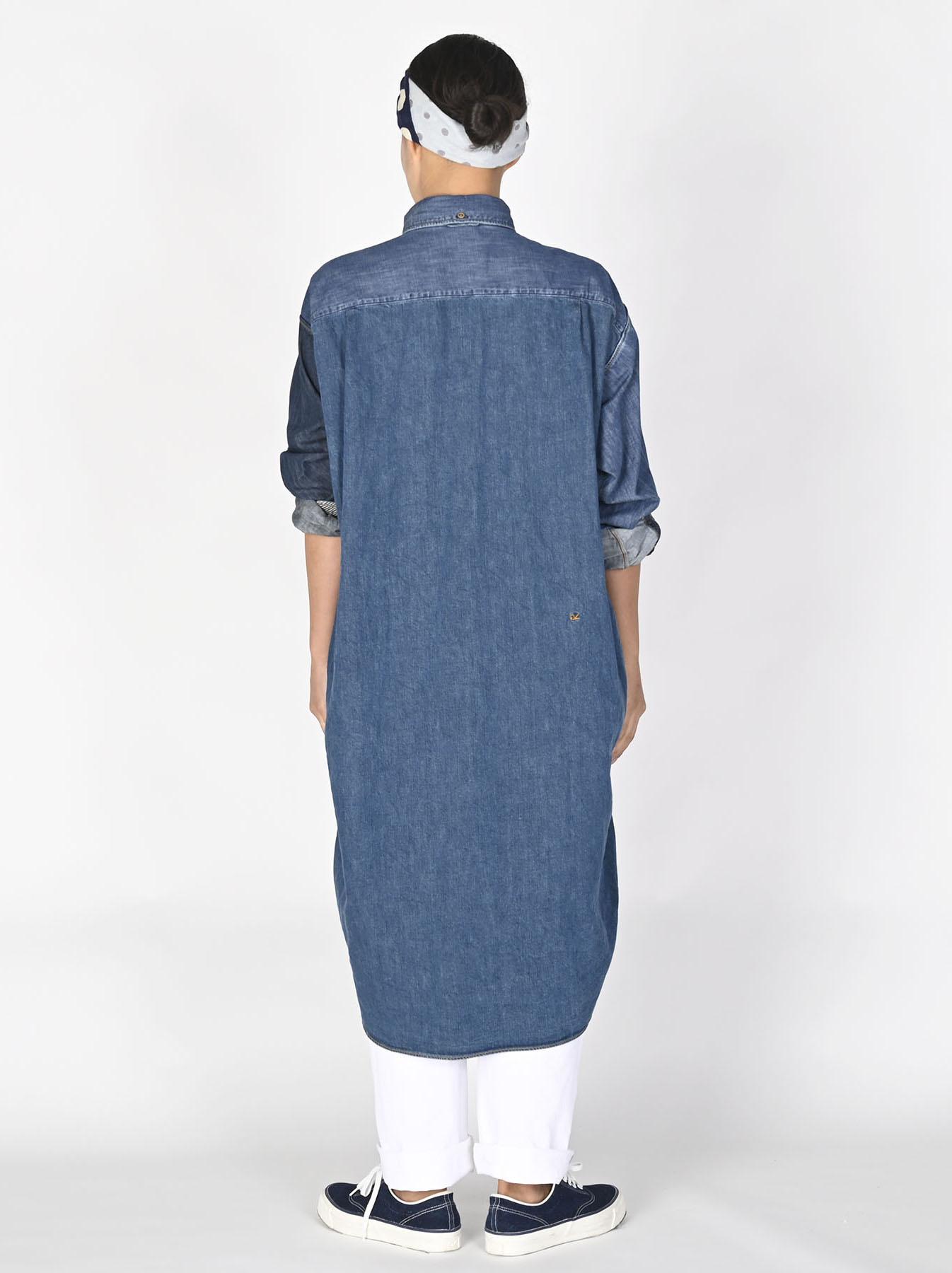 Indigo Zennin Shūgou Smock Dress-4