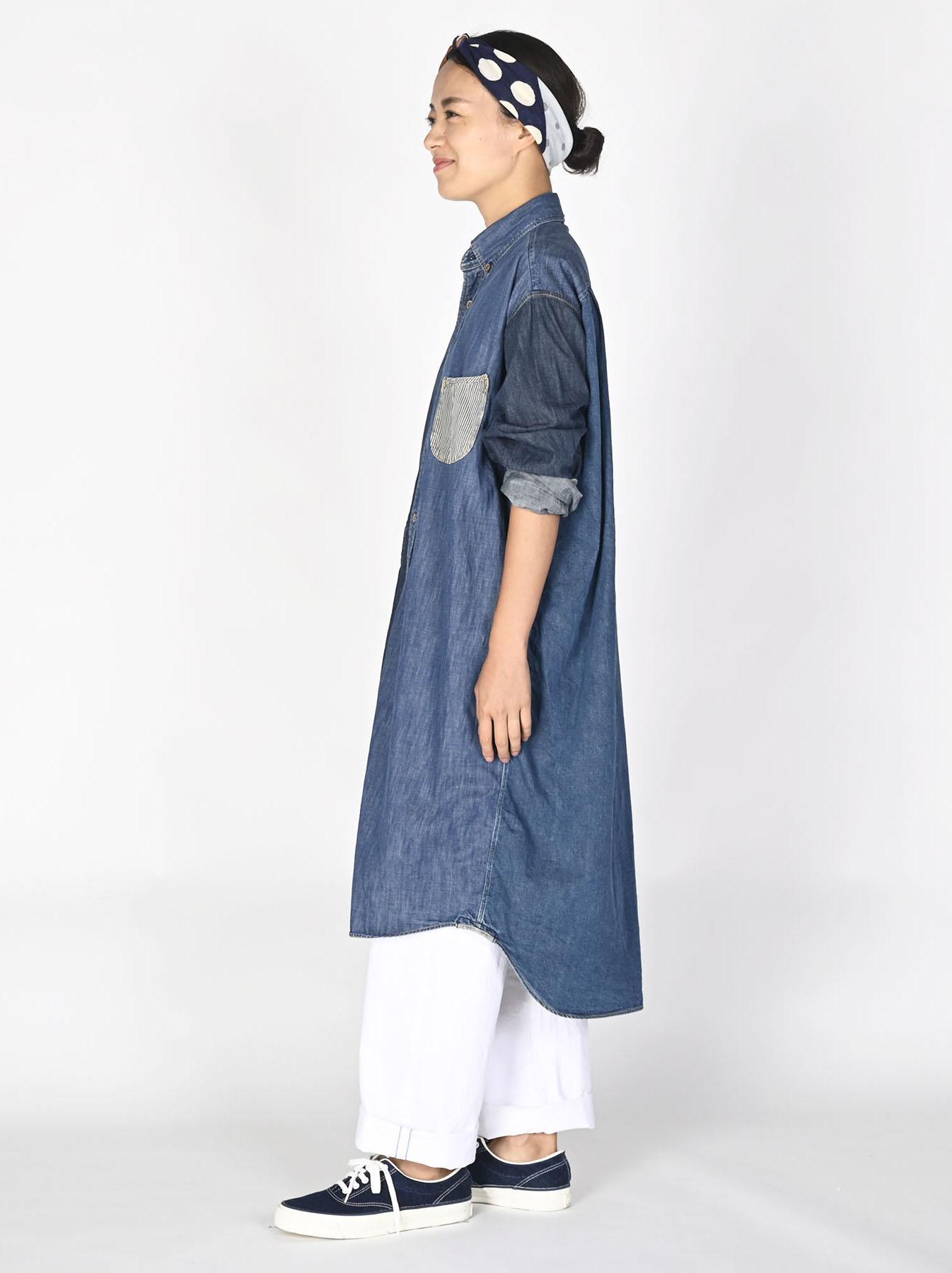 Indigo Zennin Shūgou Smock Dress-3