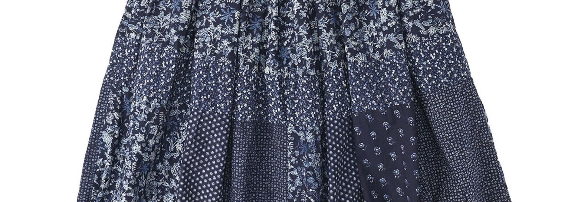 Indigo Tappet Flower Patchwork Skirt