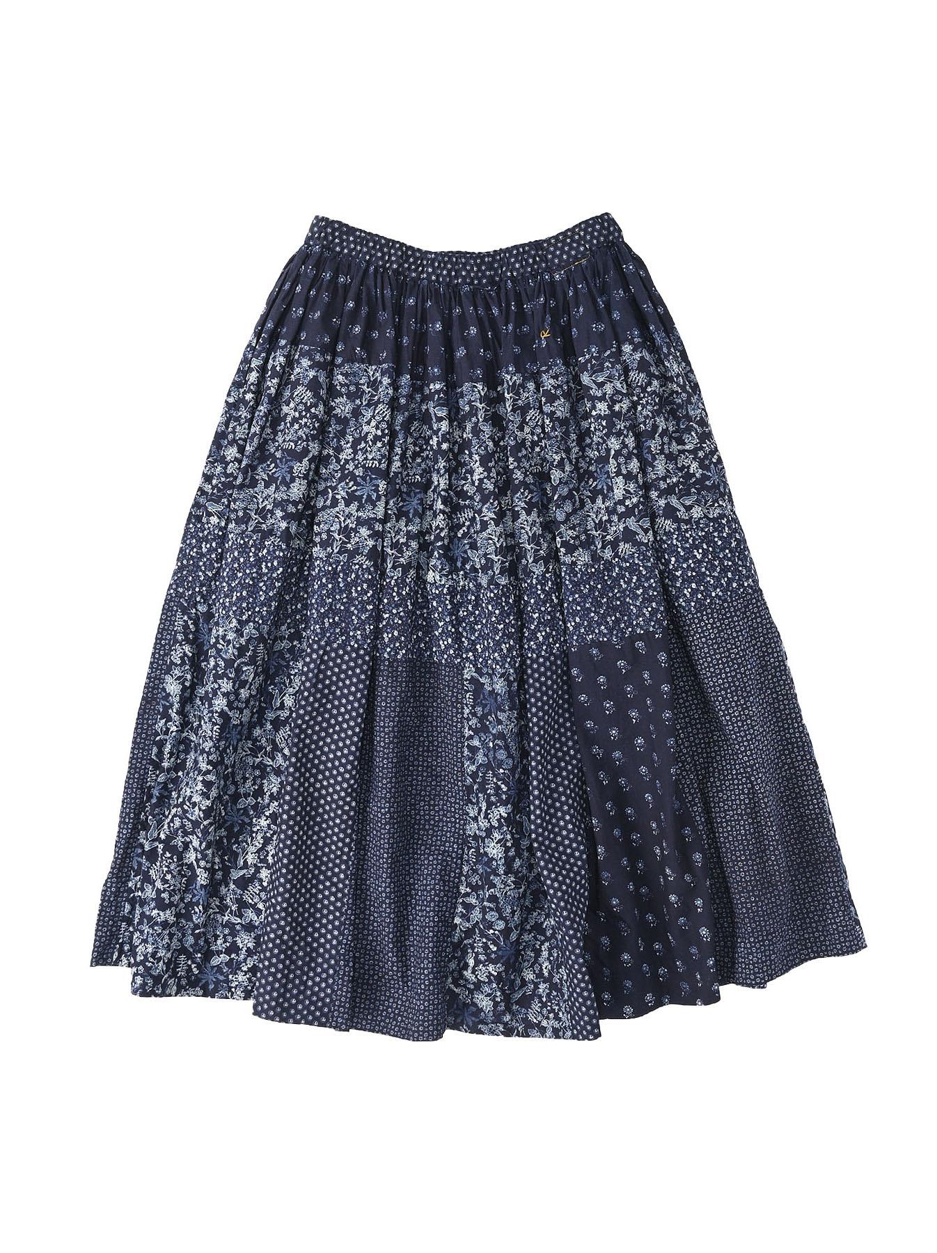 Indigo Tappet Flower Patchwork Skirt-1