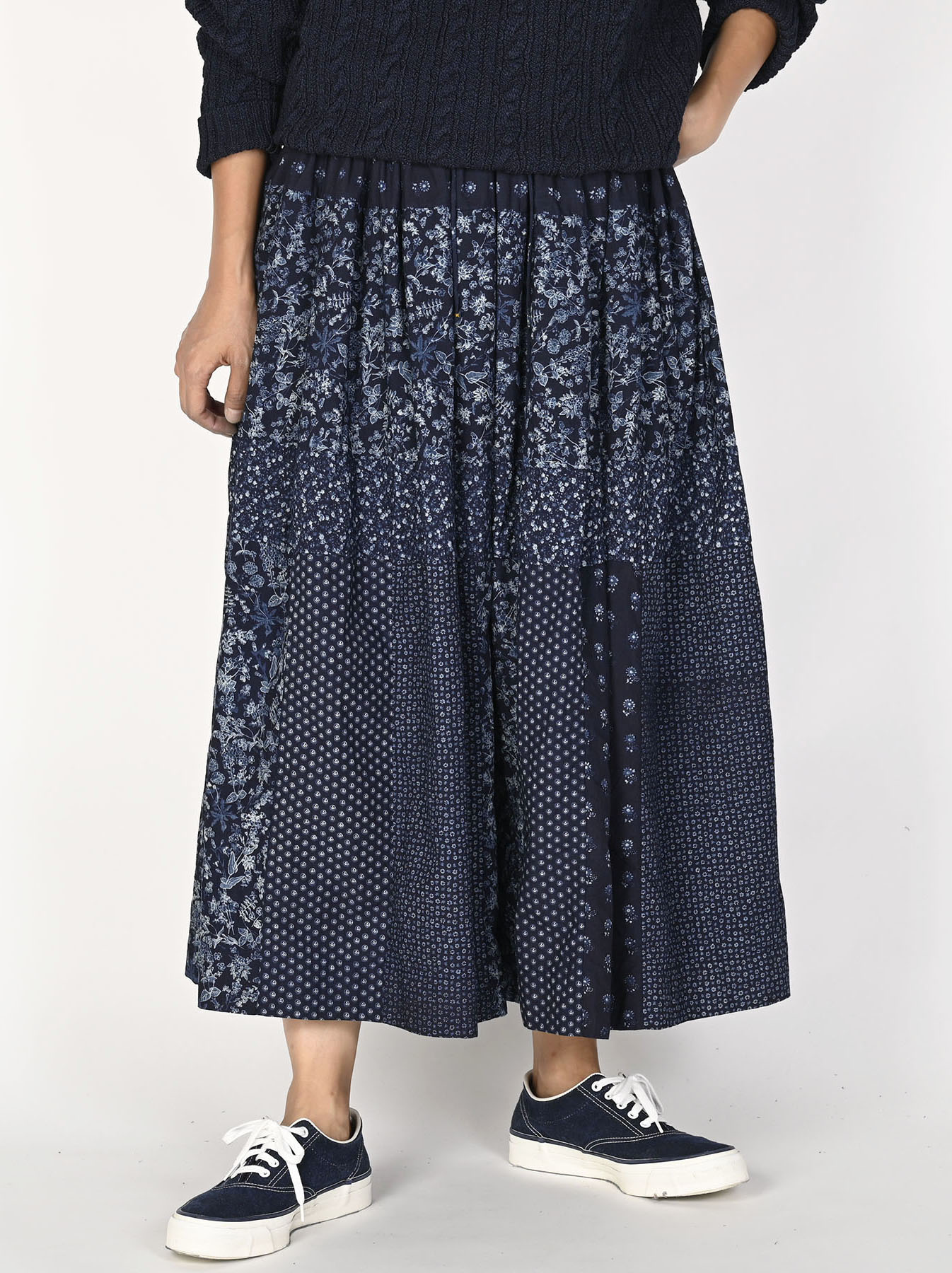 Indigo Tappet Flower Patchwork Skirt-2