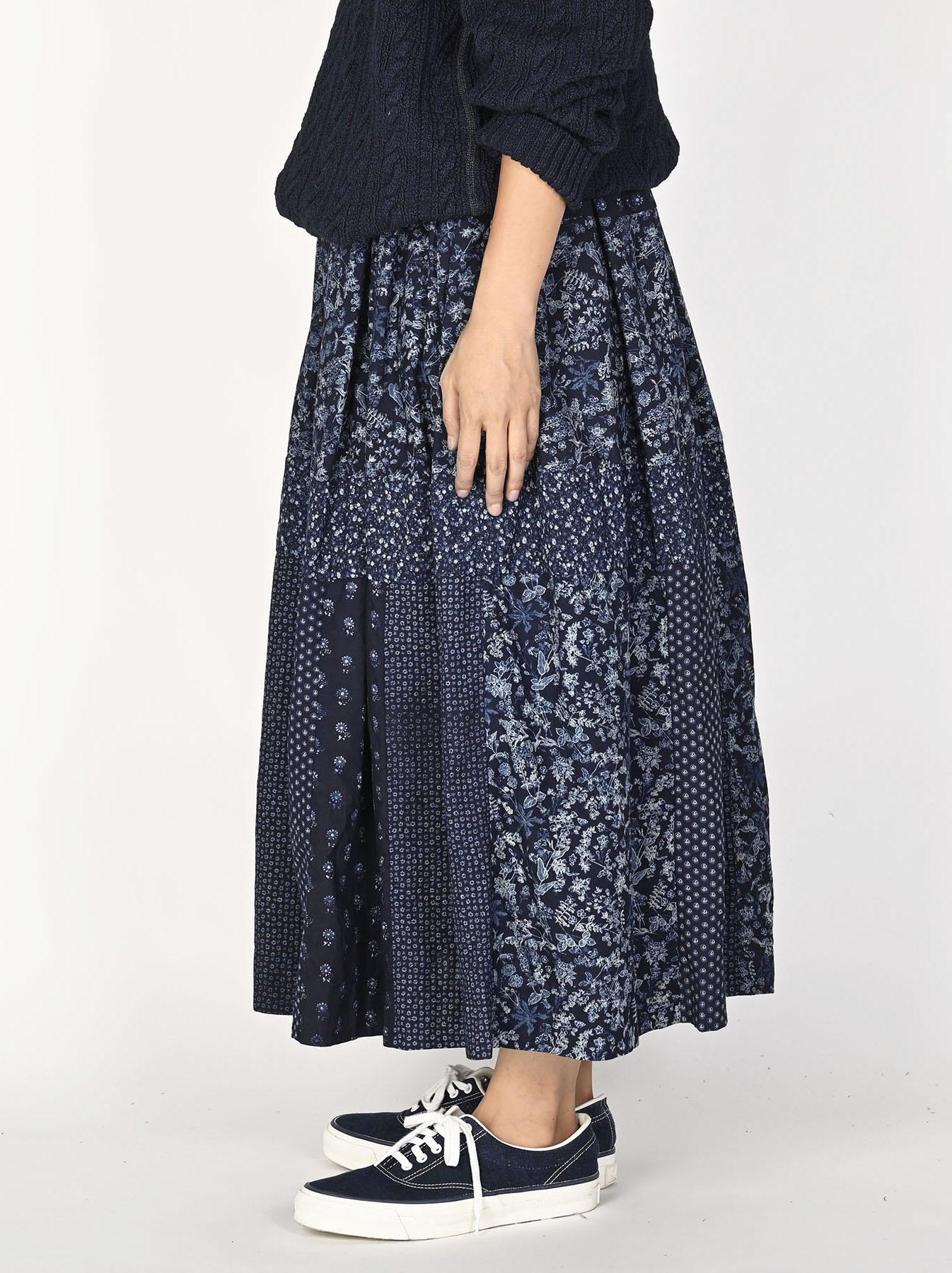 Indigo Tappet Flower Patchwork Skirt-3