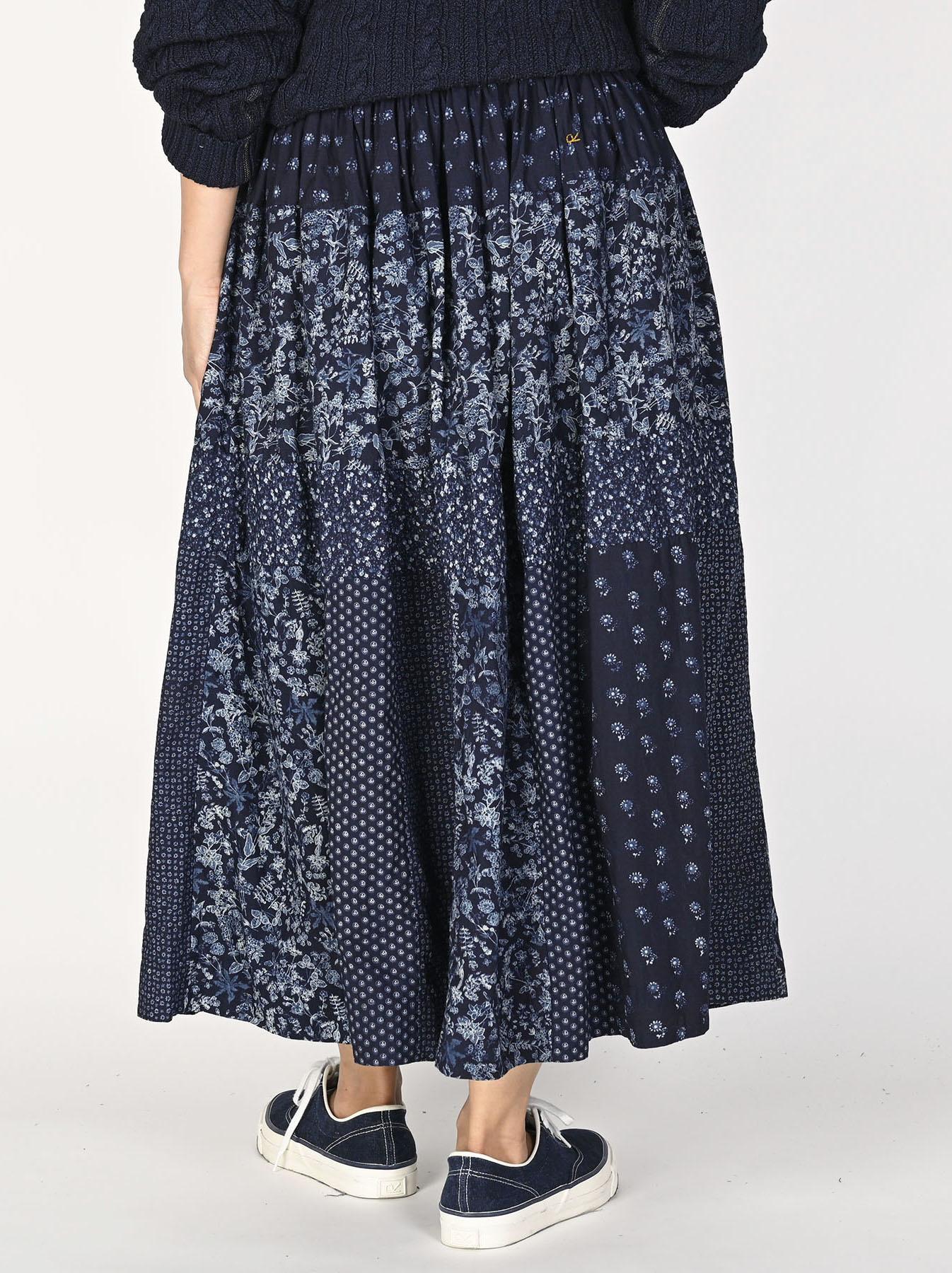 Indigo Tappet Flower Patchwork Skirt-4
