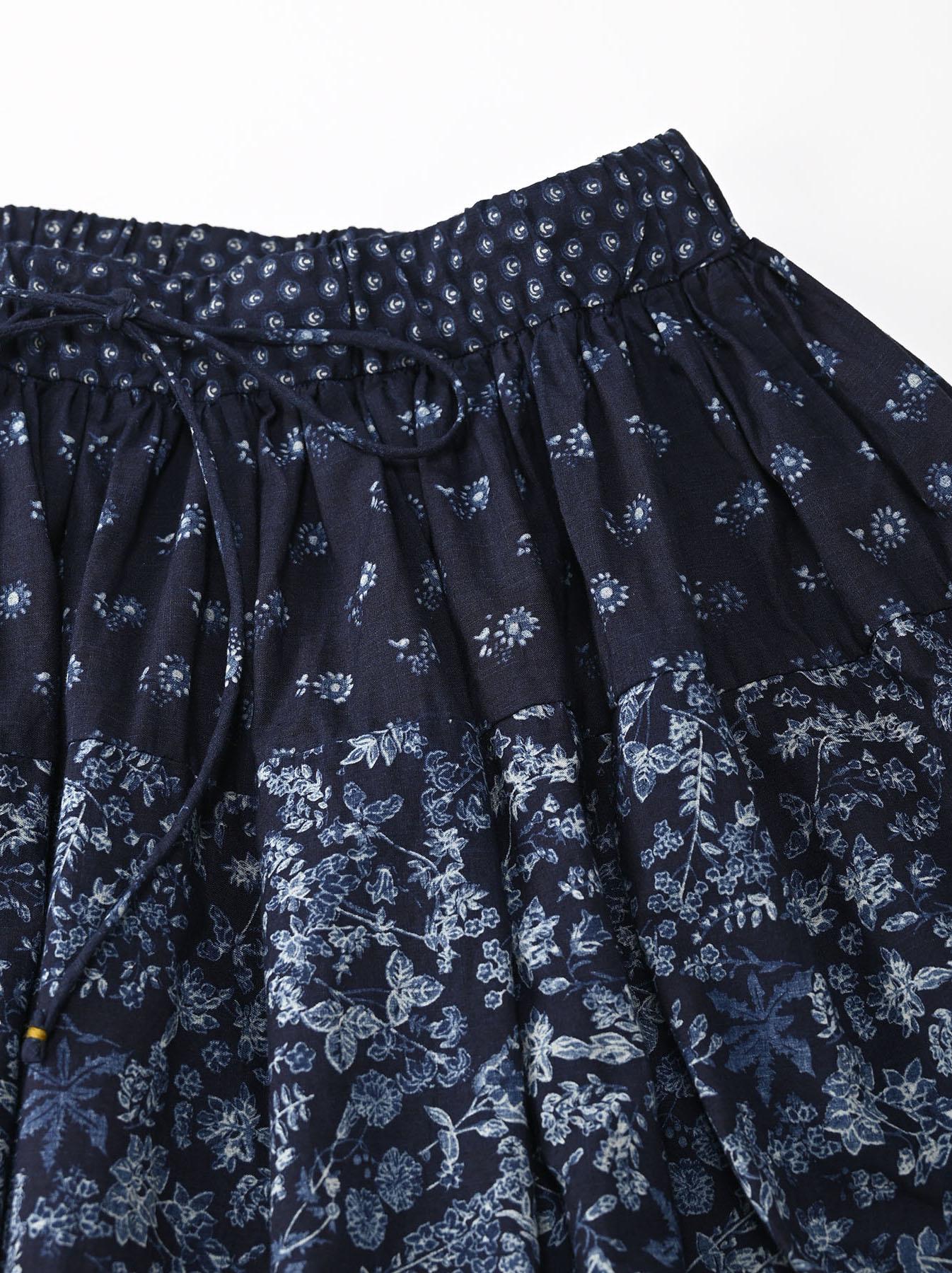 Indigo Tappet Flower Patchwork Skirt-6