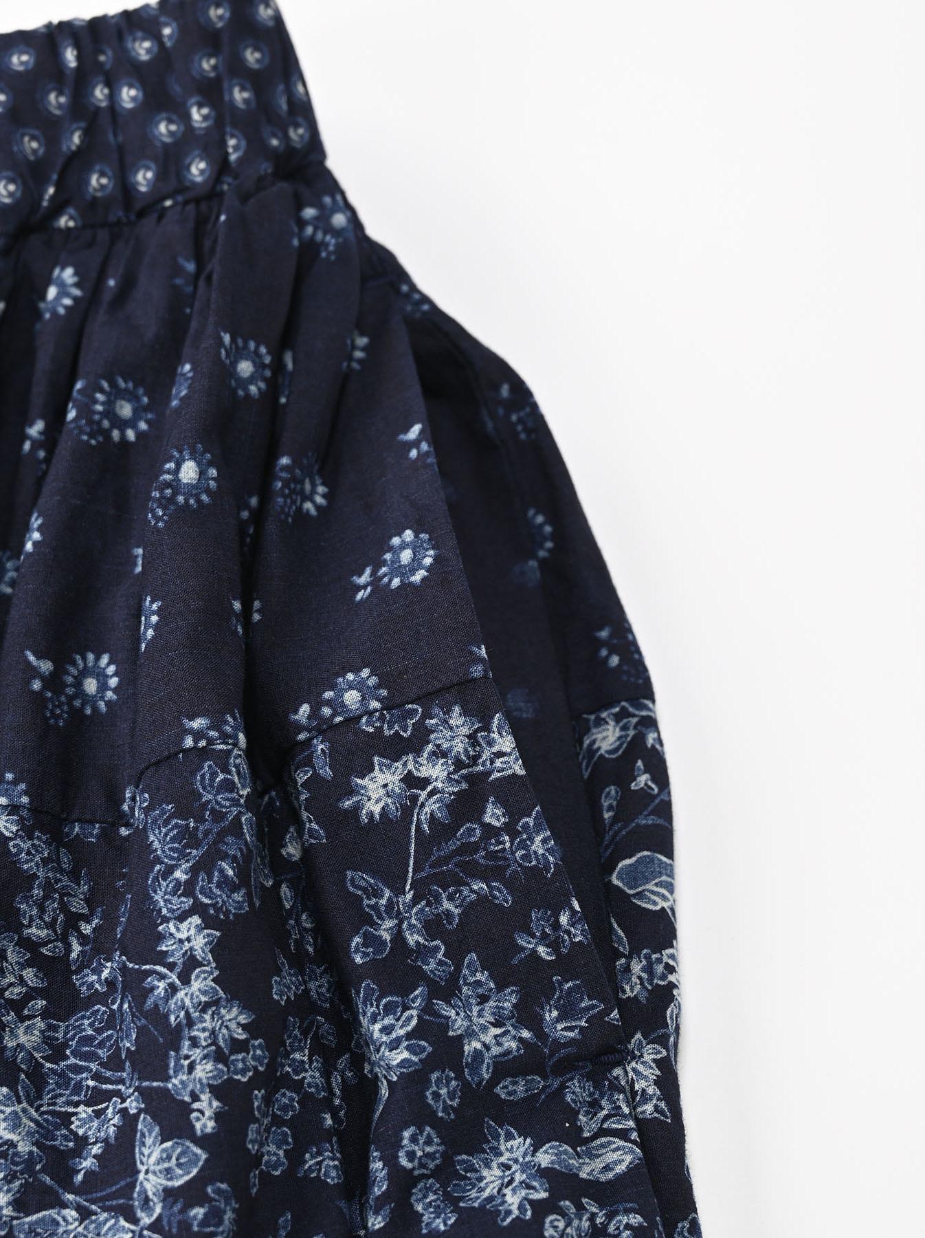 Indigo Tappet Flower Patchwork Skirt-7