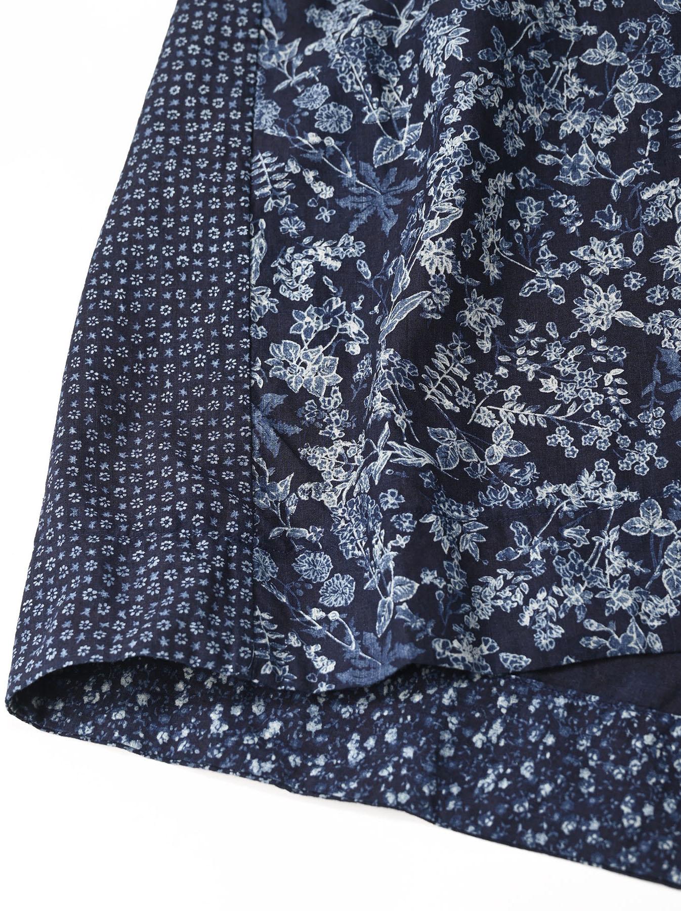 Indigo Tappet Flower Patchwork Skirt-8