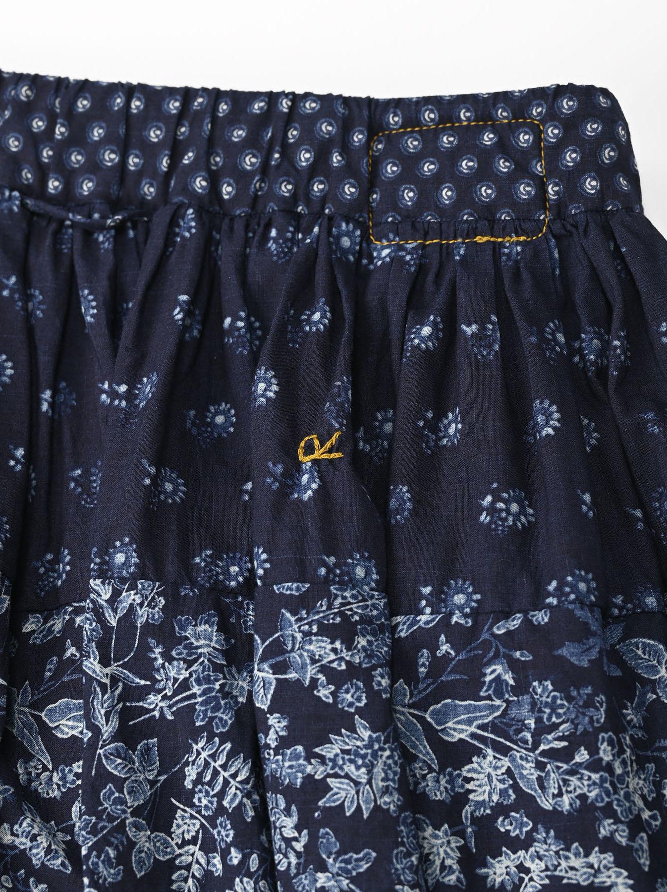 Indigo Tappet Flower Patchwork Skirt-9