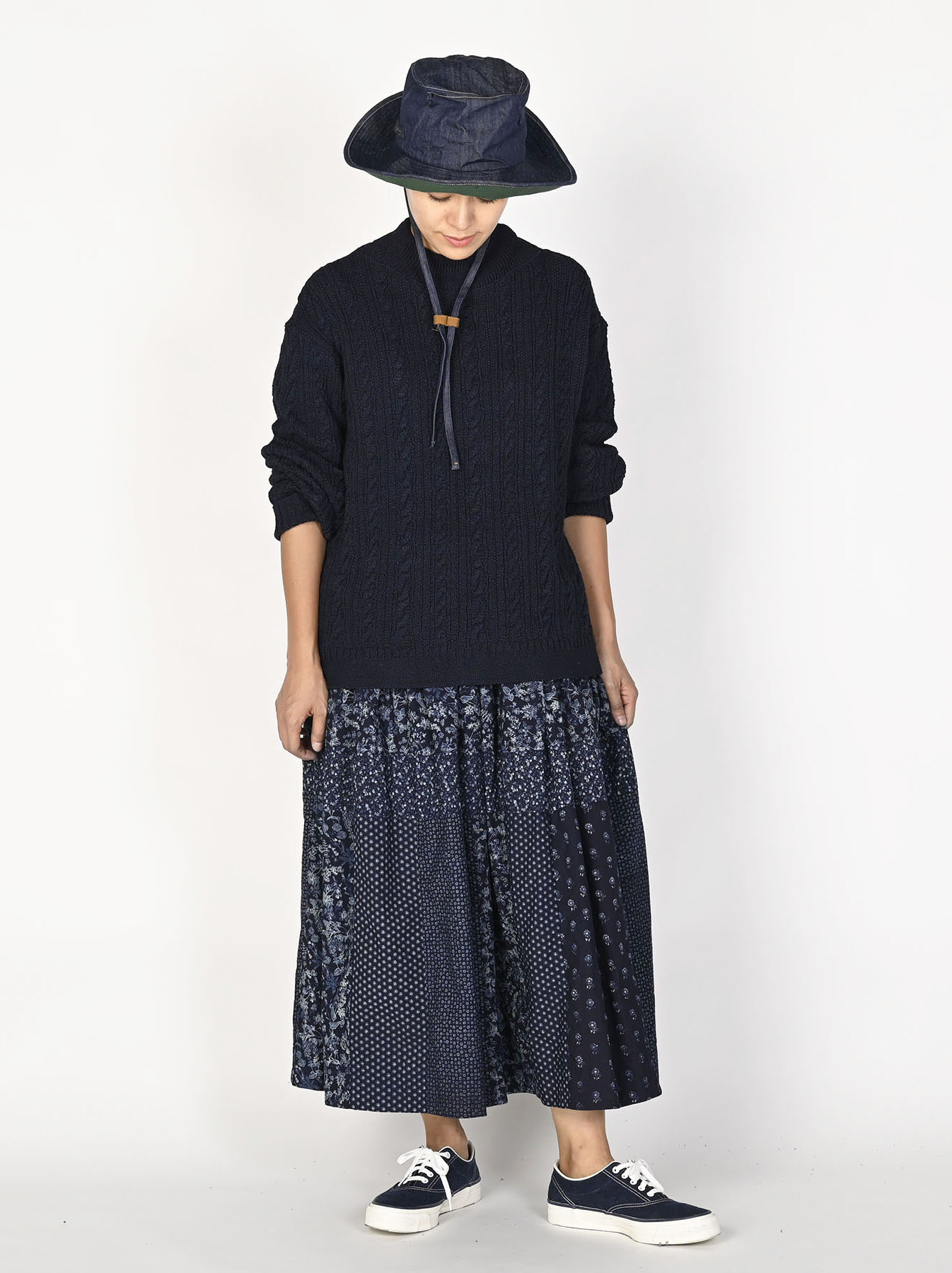 Indigo Tappet Flower Patchwork Skirt-11