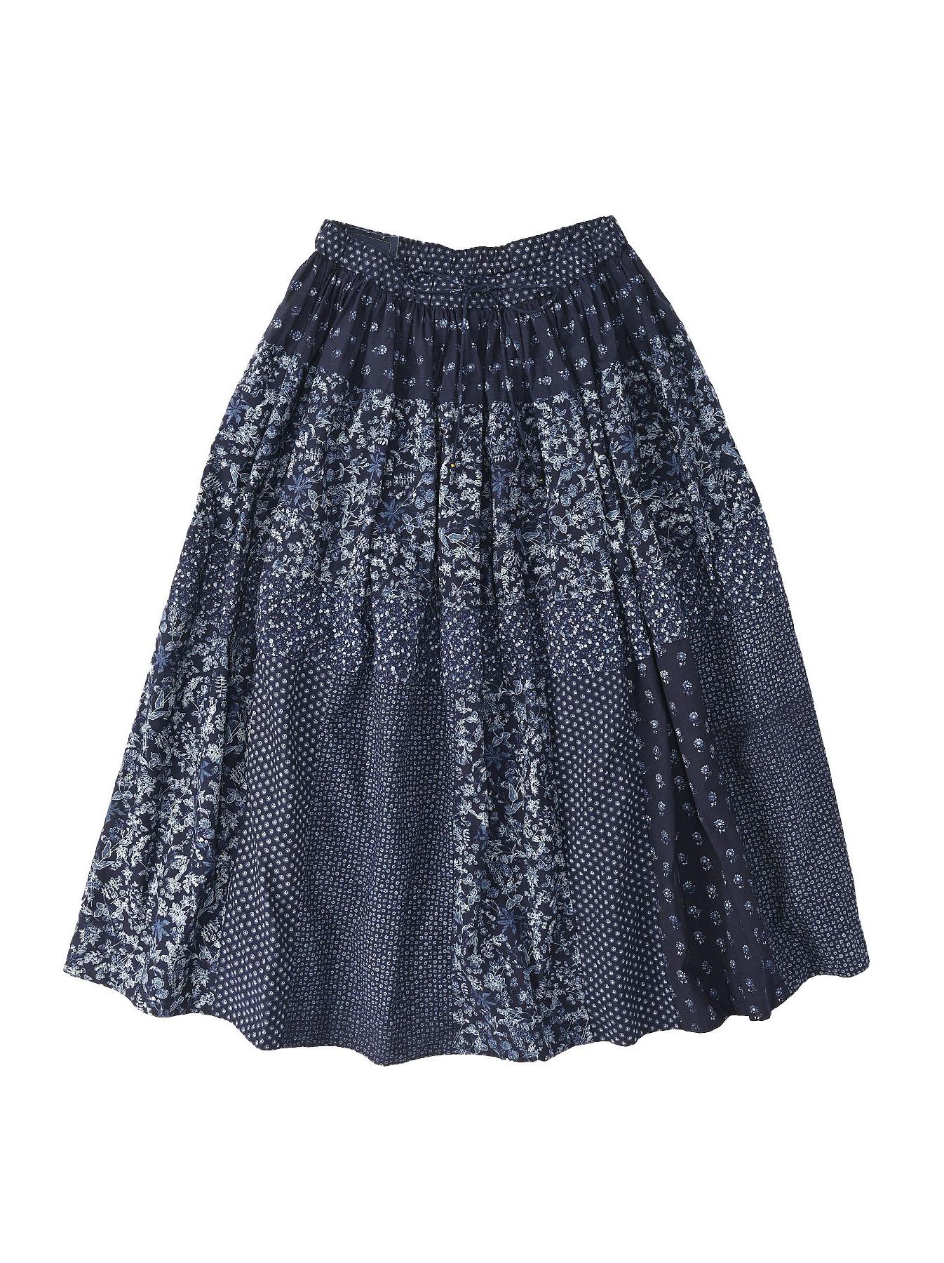 Indigo Tappet Flower Patchwork Skirt-5