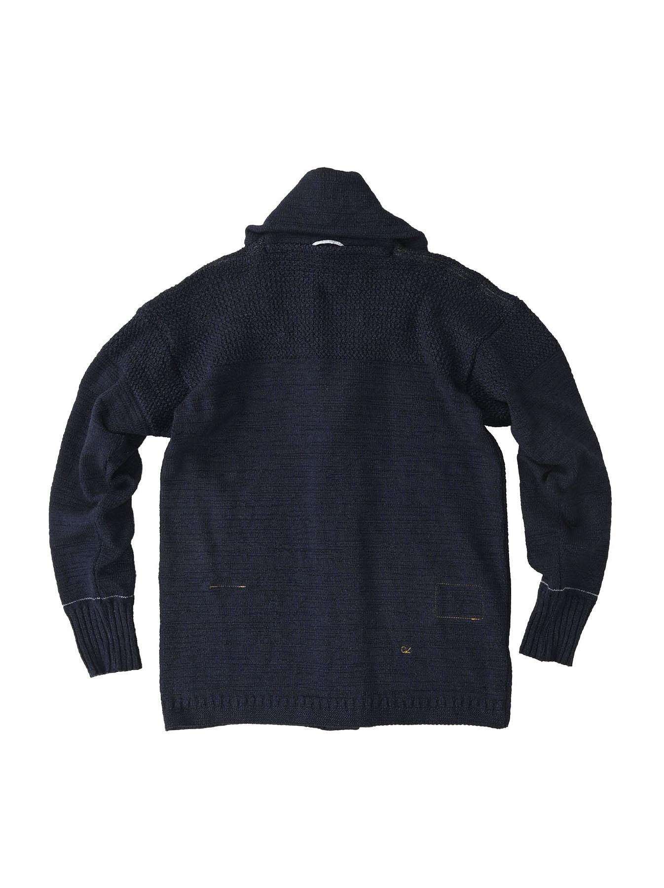 Indigo Stretch Knit Shawl Collar 908 Blouson-2