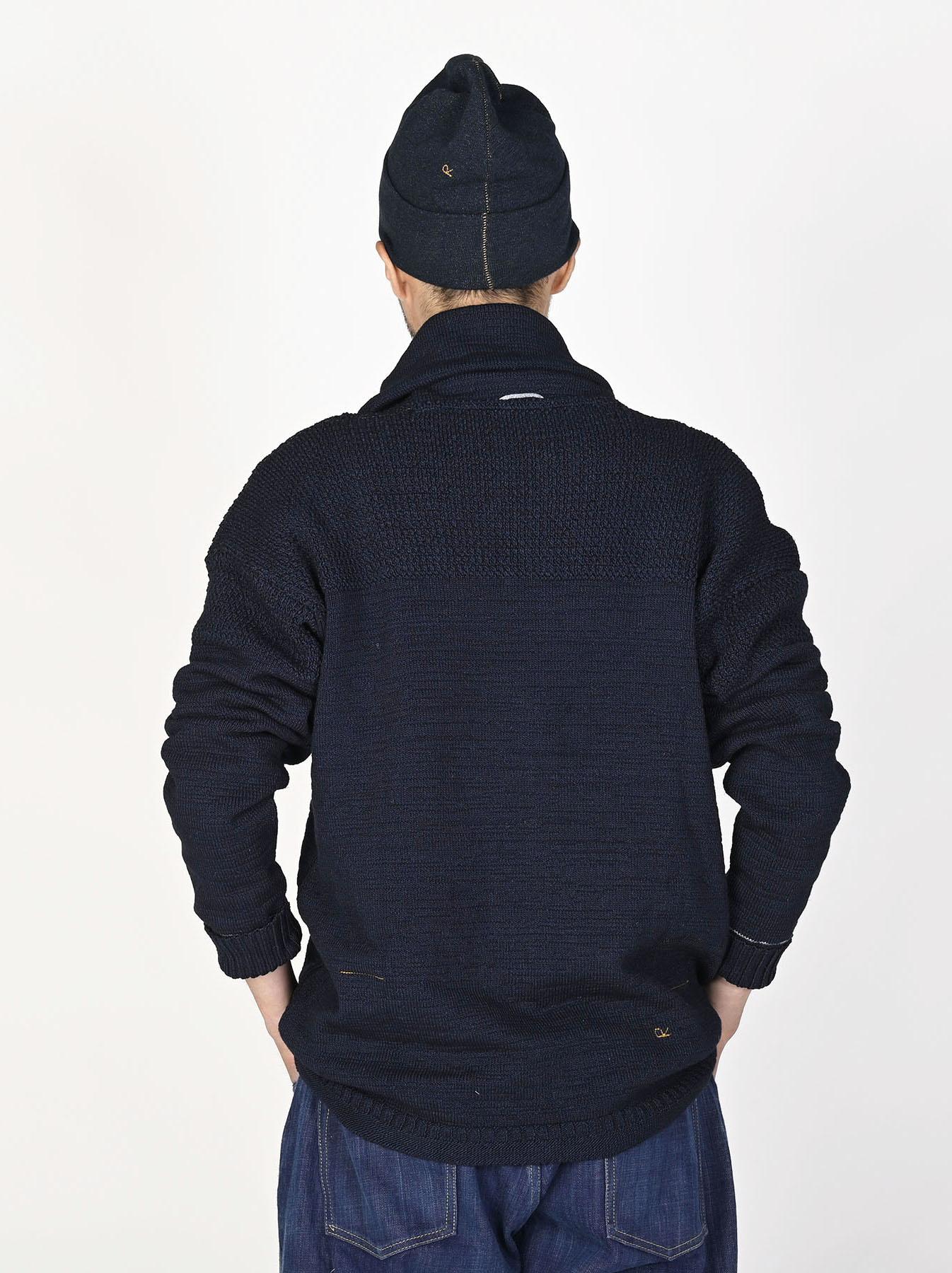 Indigo Stretch Knit Shawl Collar 908 Blouson-4