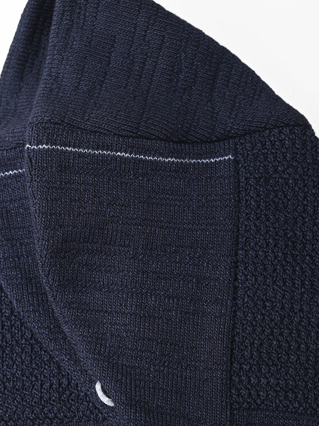 Indigo Stretch Knit Shawl Collar 908 Blouson-8