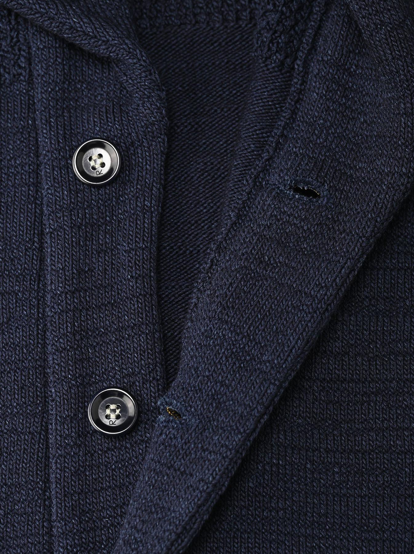 Indigo Stretch Knit Shawl Collar 908 Blouson-12