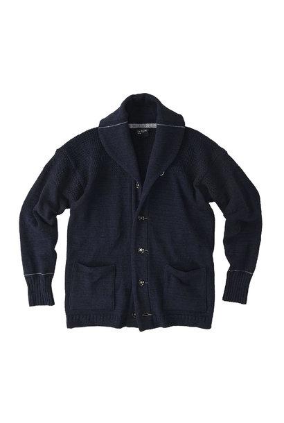Indigo Stretch Knit Shawl Collar 908 Blouson